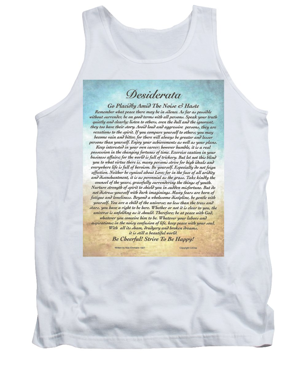 Tank Top featuring the painting Desiderata Poster Watercolor Art by Desiderata Gallery