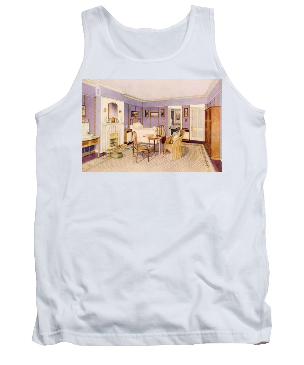 Interior Tank Top featuring the drawing Design For The Interior Of A Bedroom by Richard Goulburn Lovell