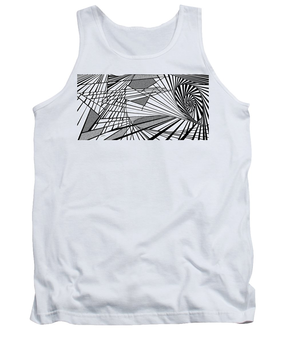 Dynamic Black And White Tank Top featuring the painting Destinies by Douglas Christian Larsen