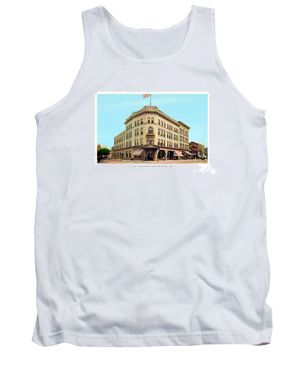 Detroit Tank Top featuring the digital art Detroit - The Brunswick Hotel - Grand Rive And Cass Avenues - 1900 by John Madison