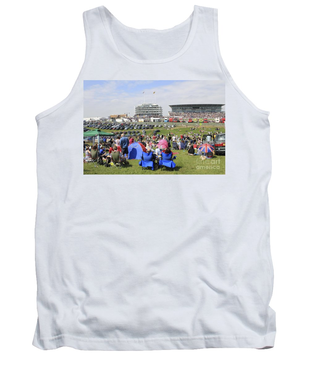 Diamond Jubilee Weekend Derby Horse Race Epsom Downs Uk Tank Top featuring the photograph Diamond Jubilee Weekend At The Derby Horse Race On Epsom Downs by Julia Gavin
