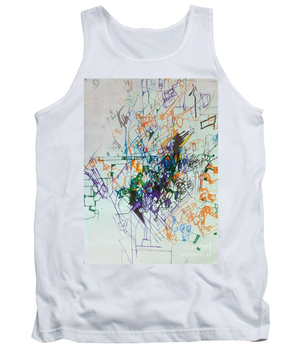 Torah Tank Top featuring the drawing Distinguishing Pain From Problem 1 by David Baruch Wolk