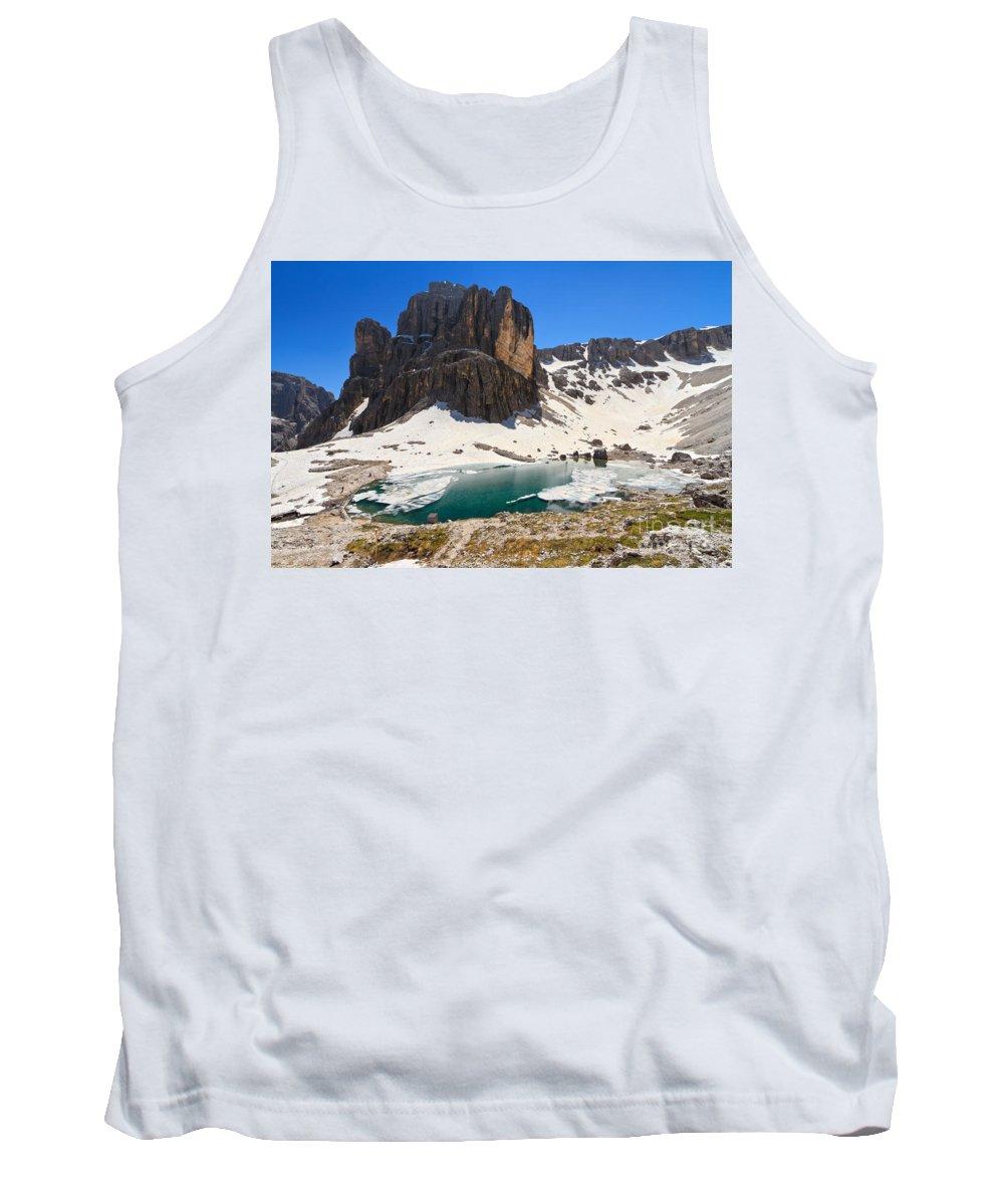 Badia Tank Top featuring the photograph Dolomiti - Pisciadu Lake by Antonio Scarpi