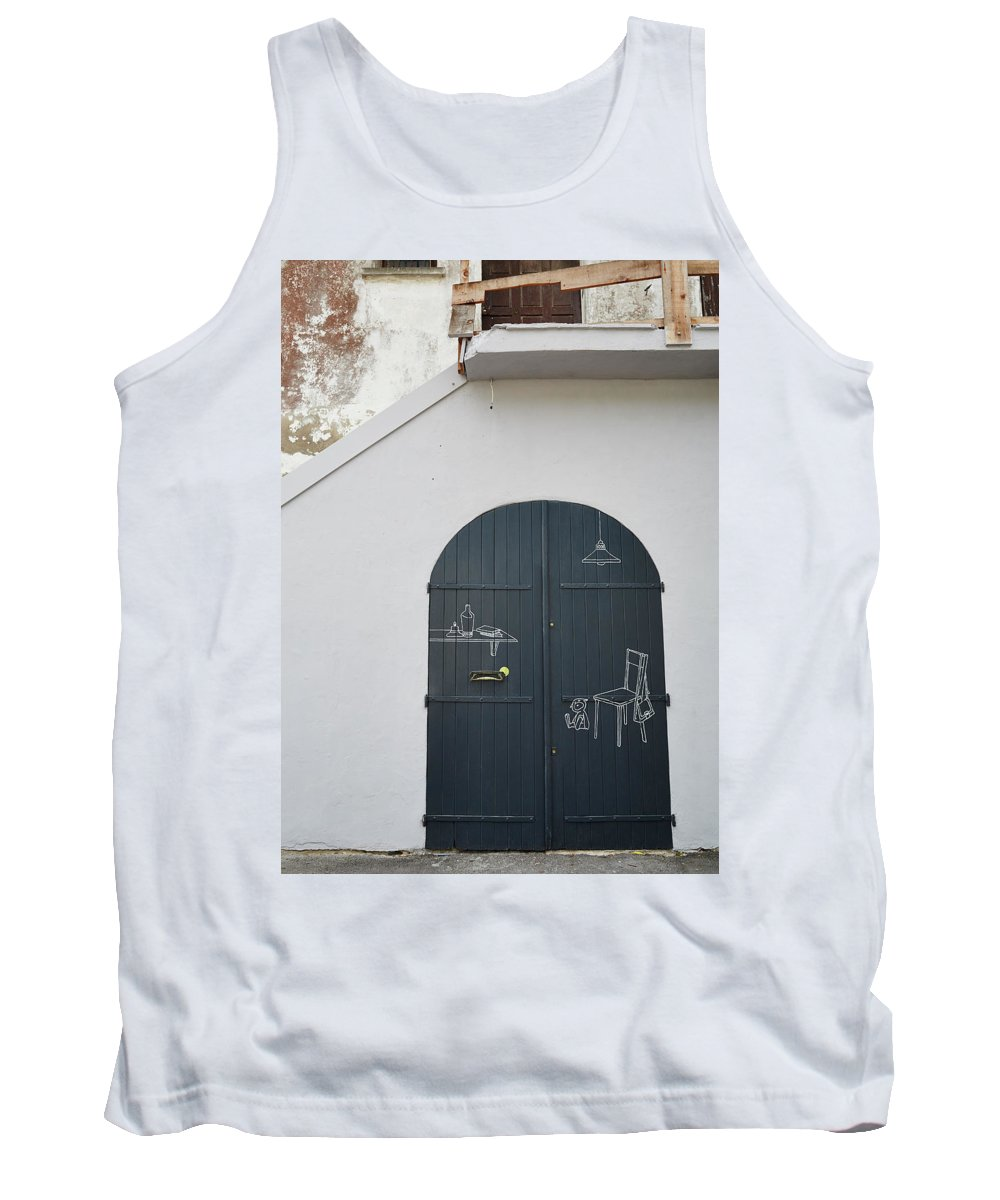 Wall Tank Top featuring the drawing Door With Drawings by Stephen DeVries
