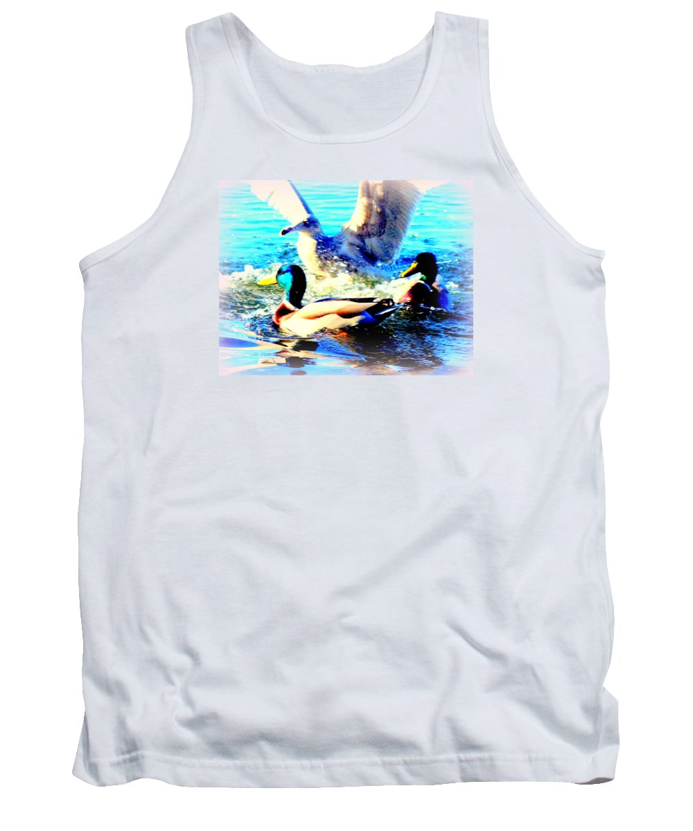 Seagull Tank Top featuring the photograph Double Dip Duck And See Gull by Hilde Widerberg