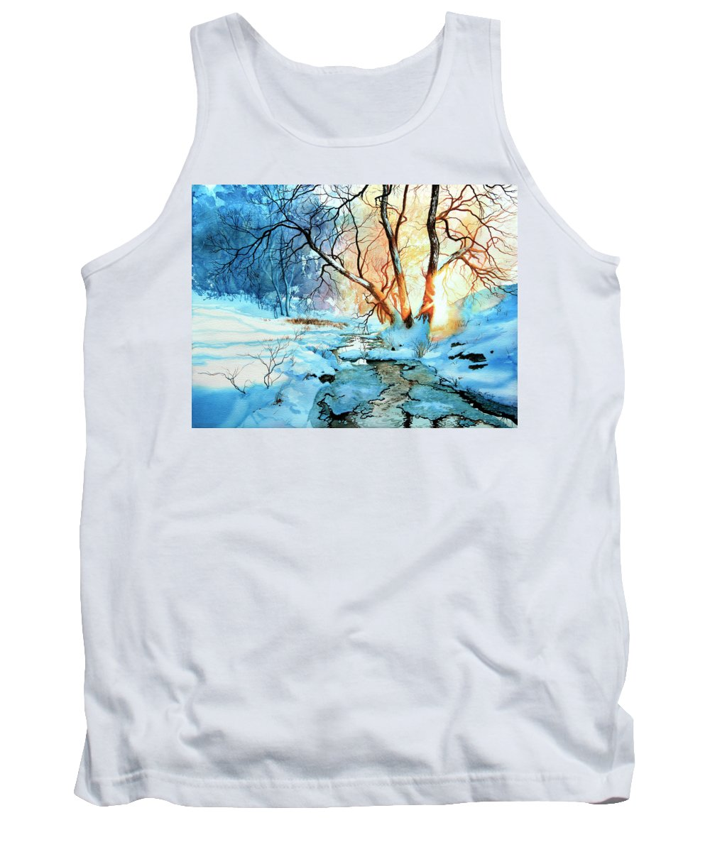 Winter Landscape Tank Top featuring the painting Drawn To The Sun by Hanne Lore Koehler