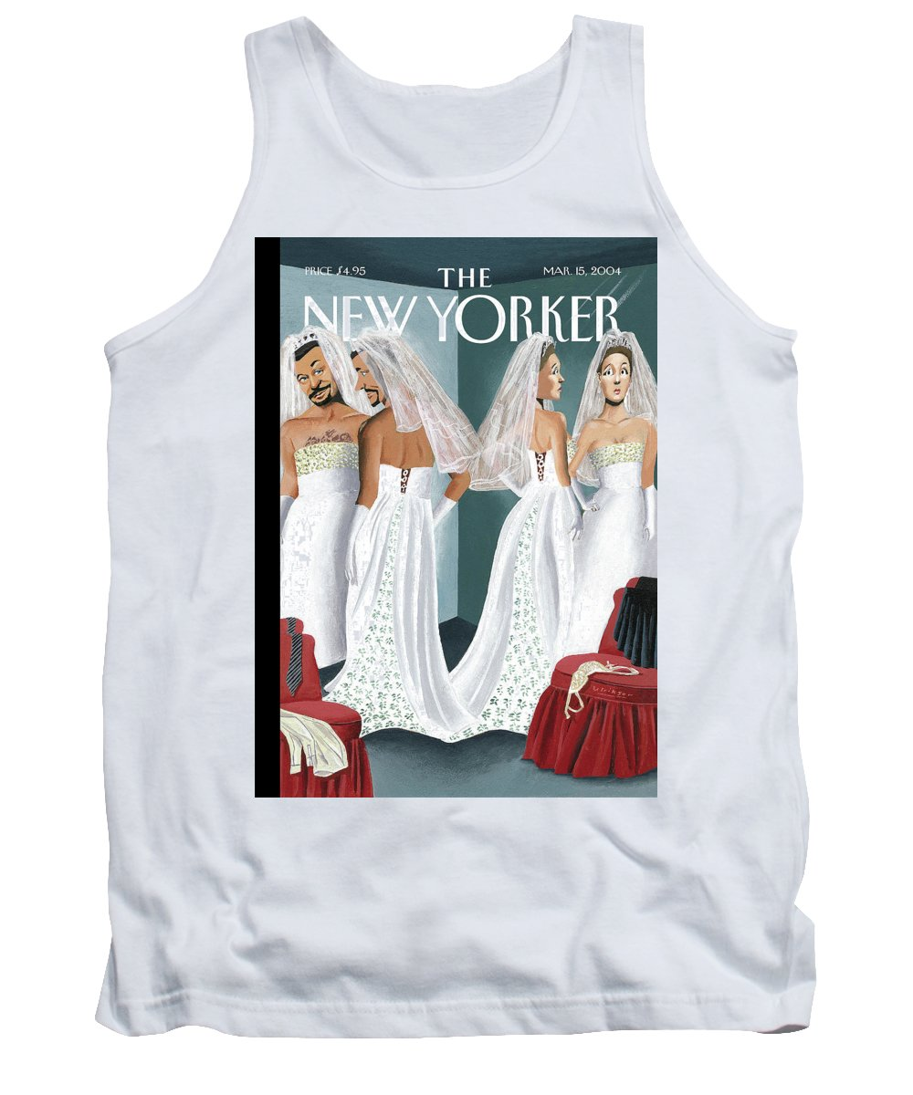 Mul Mark Ulriksen  (woman And Man Trying On Wedding Gowns.) Marriage Weddings Fashion Gay    70095 Tank Top featuring the painting Dress Reversal by Mark Ulriksen