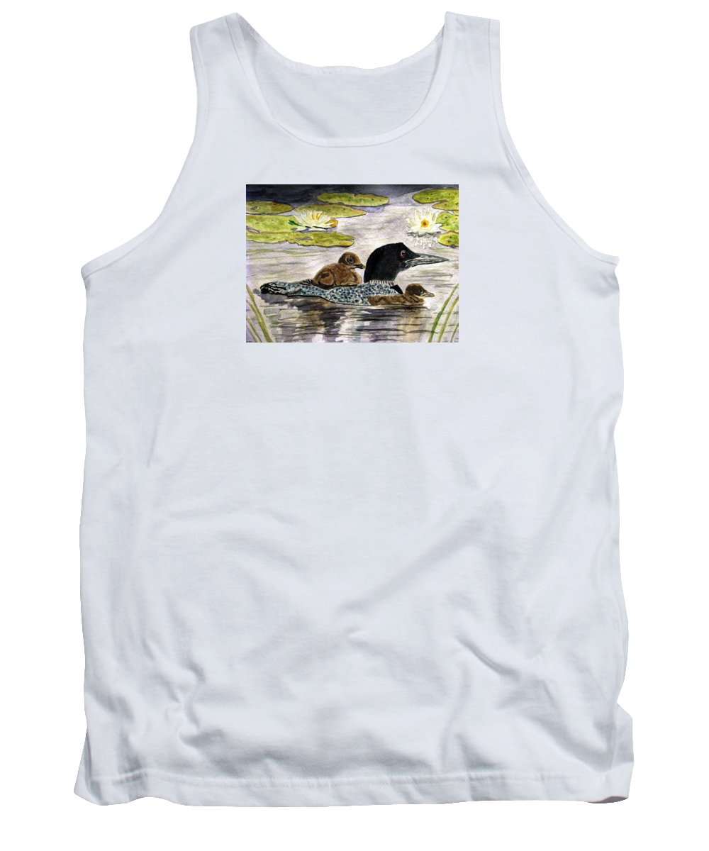 Loons Tank Top featuring the painting Drifting Among The Waterlilies by Angela Davies