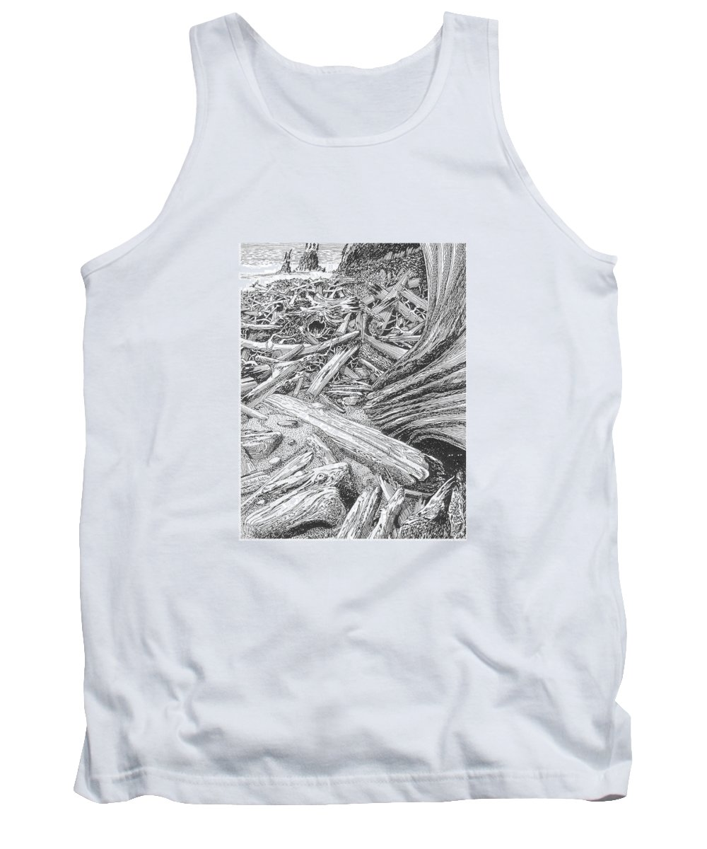 Find The Critter? Tank Top featuring the drawing Critter In The Driftwood by Jack Pumphrey