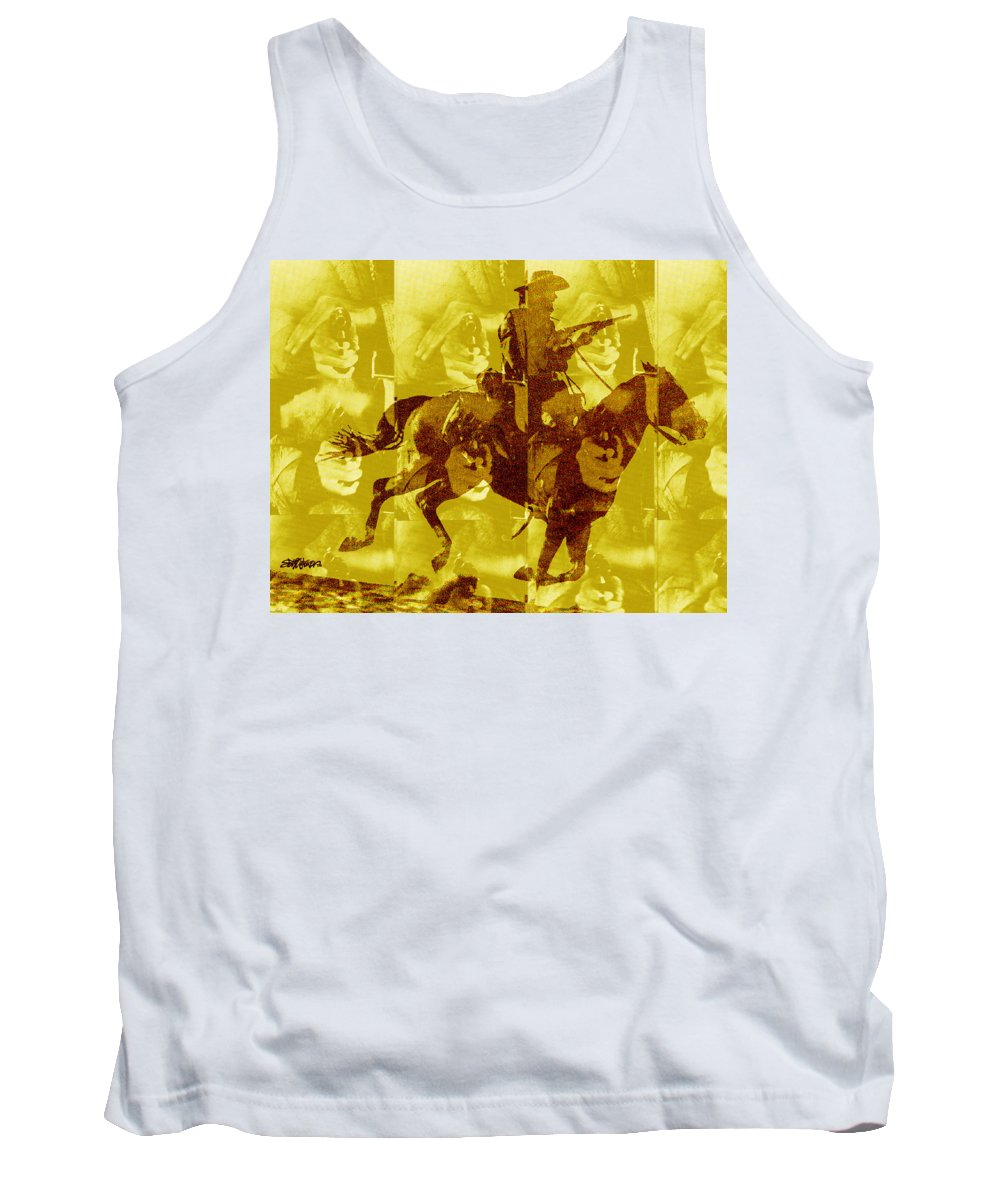 Clint Eastwood Tank Top featuring the digital art Duel In The Saddle 1 by Seth Weaver
