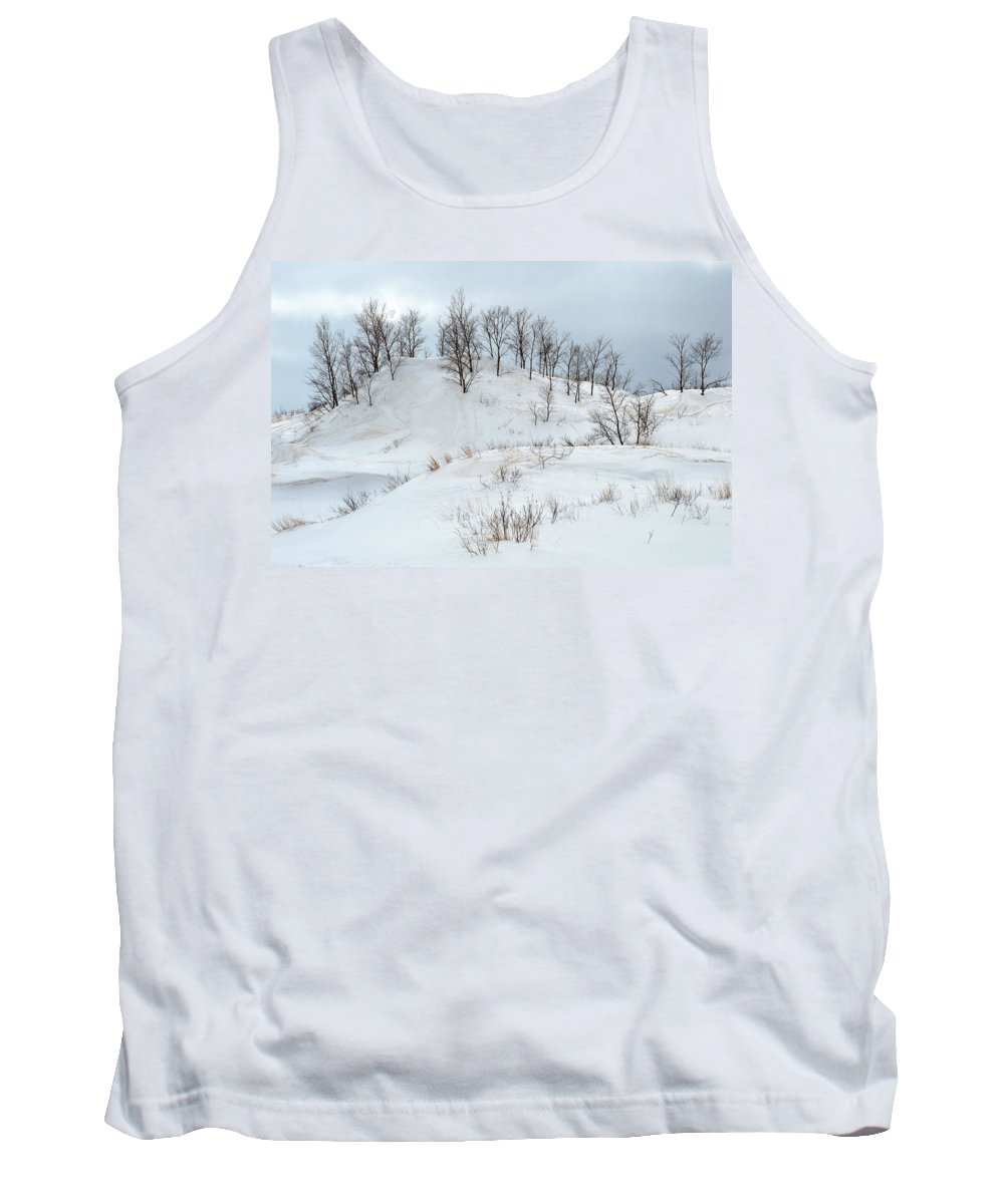 Michigan Tank Top featuring the photograph Dune Trees And Snow by Linda Kerkau