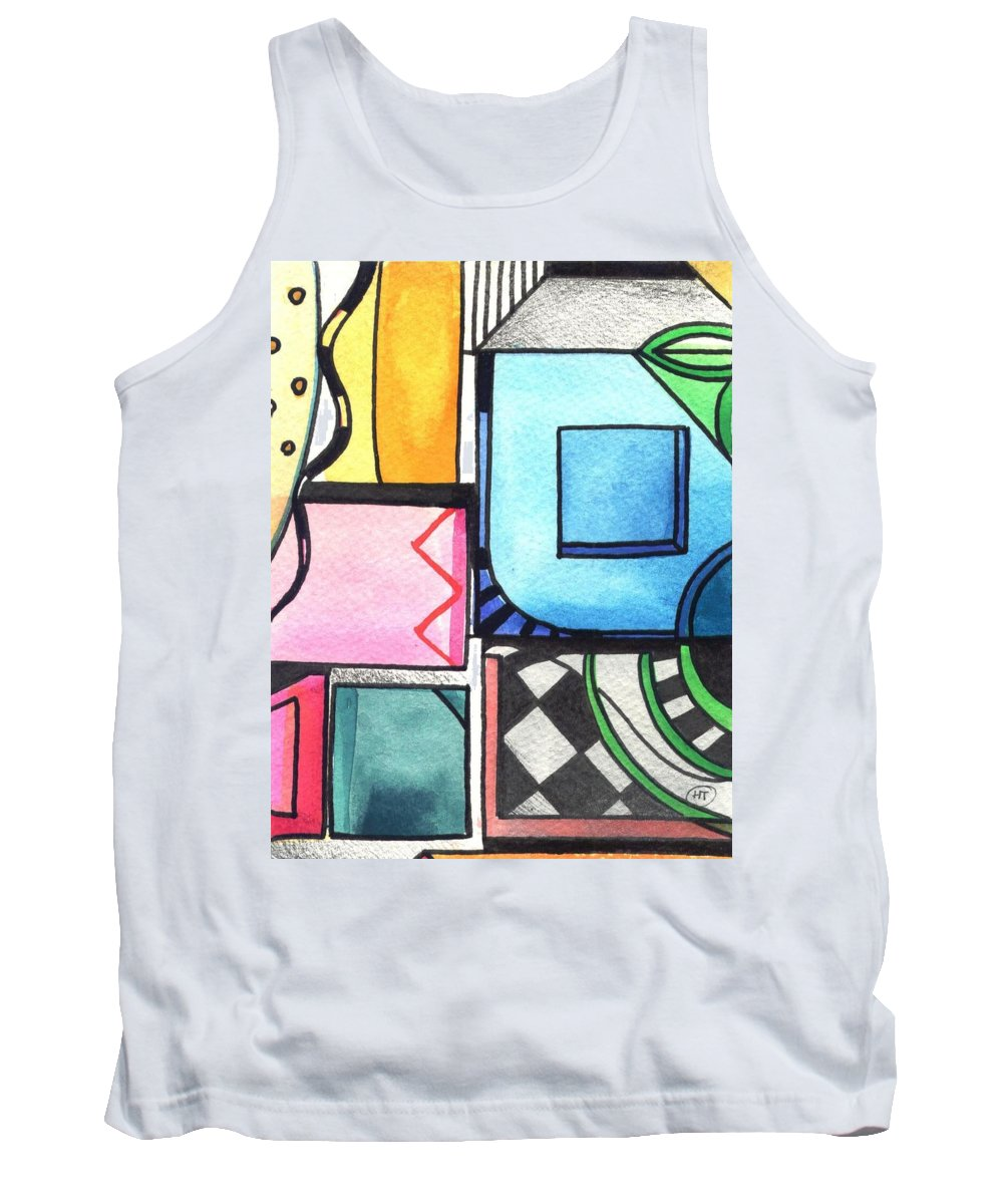 Geometric Tank Top featuring the painting Dwelling In The Square by Helena Tiainen