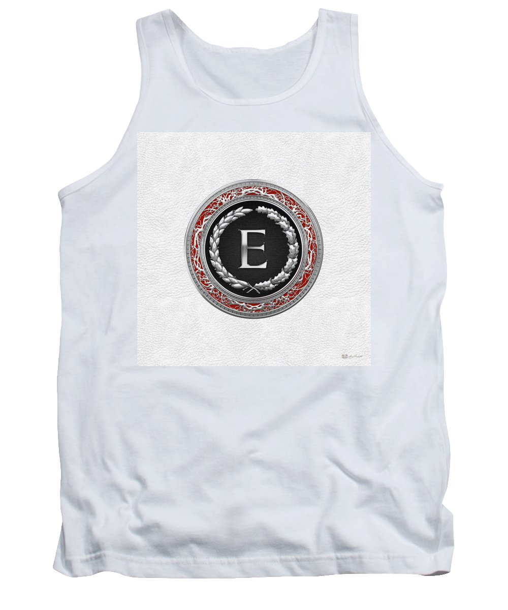 C7 Vintage Monograms 3d Tank Top featuring the digital art E - Silver Vintage Monogram On White Leather by Serge Averbukh