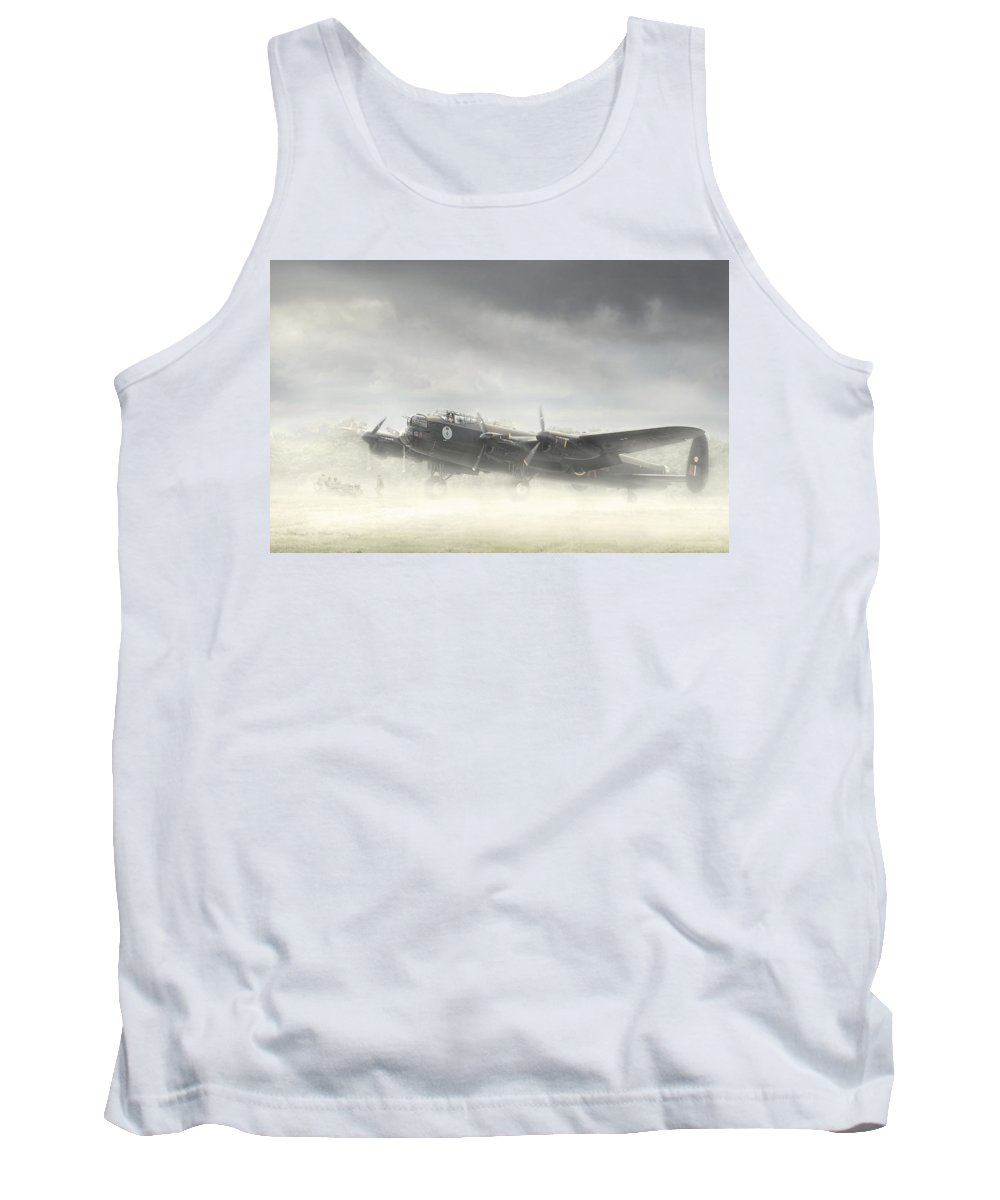 Aviation Aircraft Wwii Bomber R.c.a.f Royal Air Force Canadian Mynarski Lancaster Fog Military Airplane Plane Fighting War Tank Top featuring the photograph Early Morning Fog by Jeff Stephenson