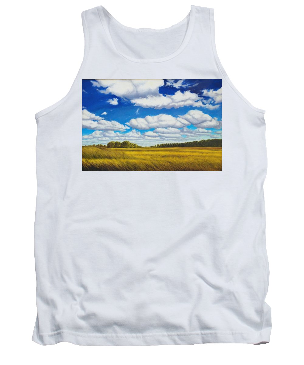 Wheat Tank Top featuring the painting Early Summer Clouds by Leonard Heid