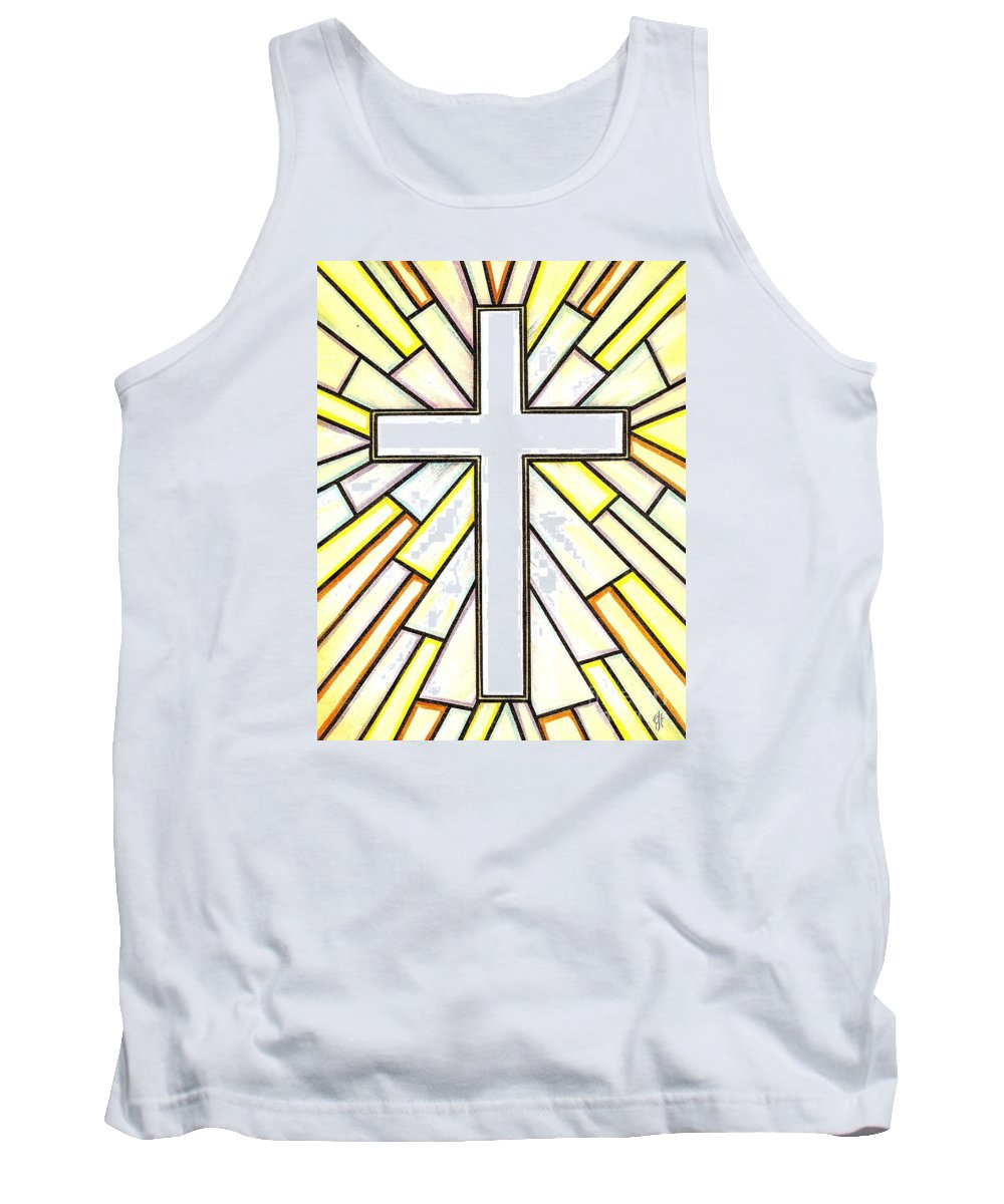Cross Tank Top featuring the painting Easter Cross 3 by Jim Harris