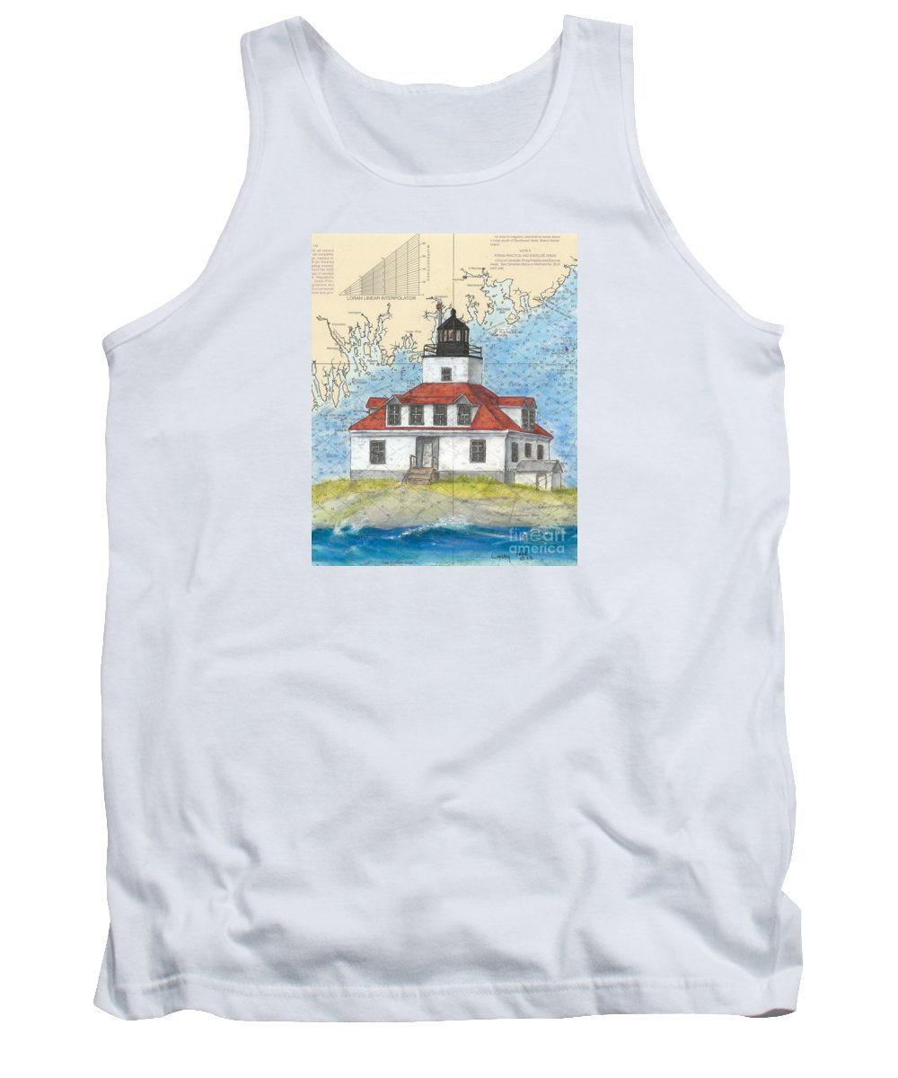 Egg Tank Top featuring the painting Egg Rock Lighthouse Me Nautical Chart Map Art by Cathy Peek