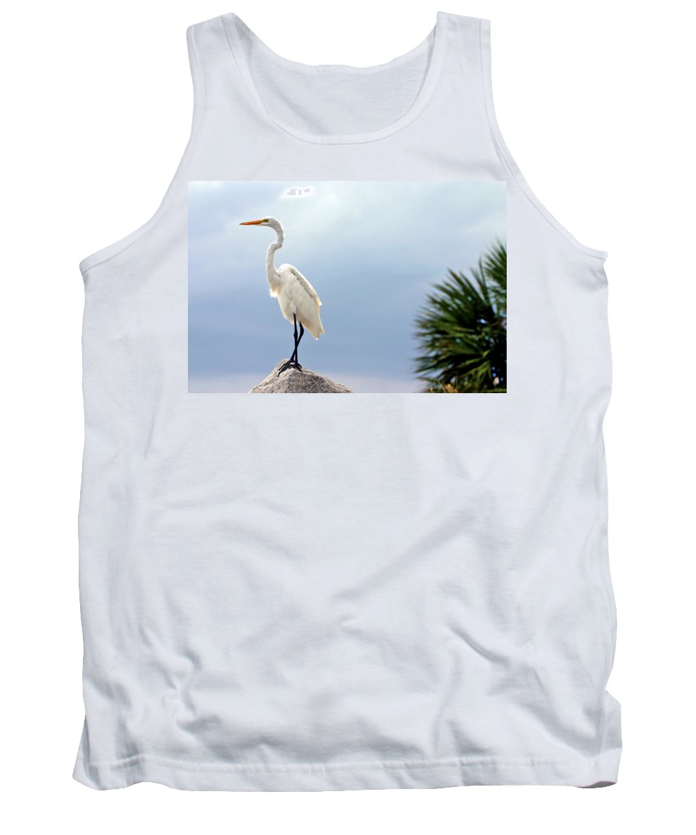 Egret Tank Top featuring the photograph Egret And Tree by Scott Mahon