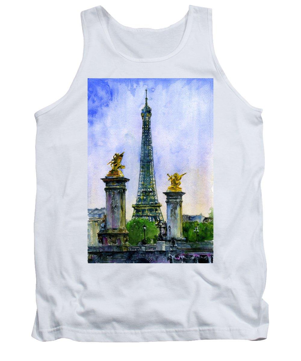Eiffel Tank Top featuring the painting Eiffel Tower Paris by John D Benson
