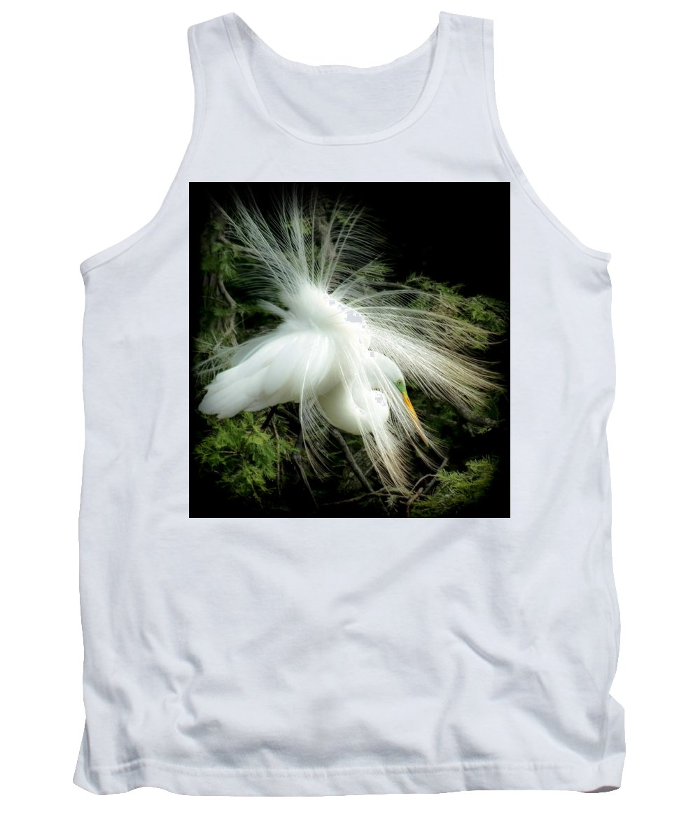White Egret Tank Top featuring the photograph Elegance Of Creation by Karen Wiles