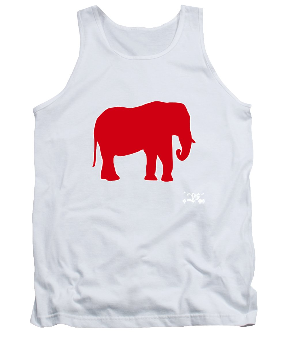 Graphic Art Tank Top featuring the digital art Elephant In Red And White by Jackie Farnsworth