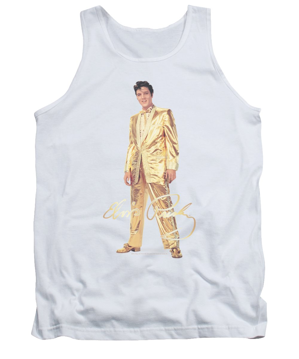 Elvis Tank Top featuring the digital art Elvis - Gold Lame Suit by Brand A