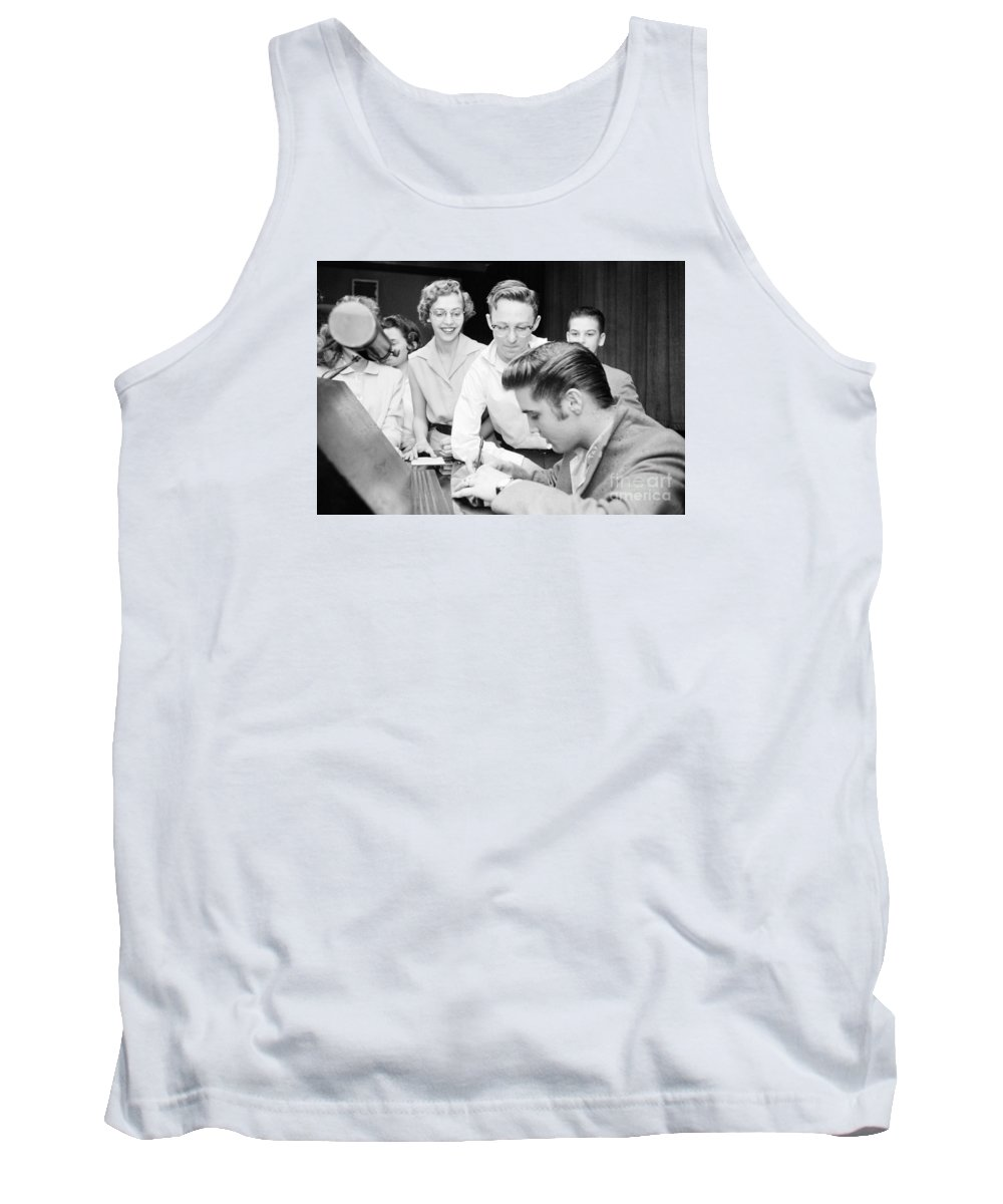 Elvis Presley Tank Top featuring the photograph Elvis Presley Signing Autographs For Fans 1956 by The Harrington Collection