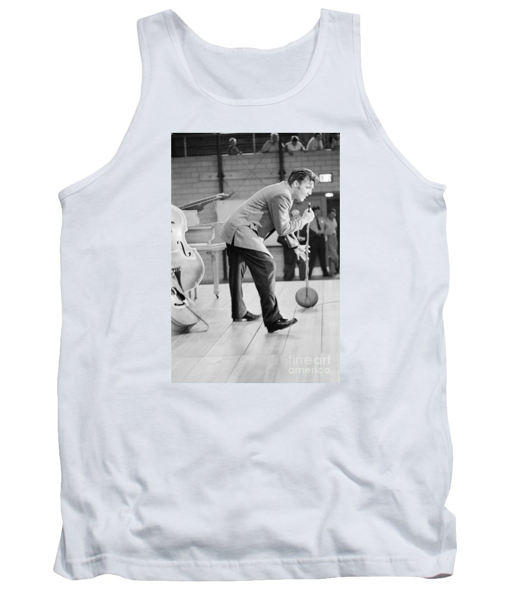 Elvis Presley Tank Top featuring the photograph Elvis Presley Singing On Stage In Dayton In 1956 by The Harrington Collection