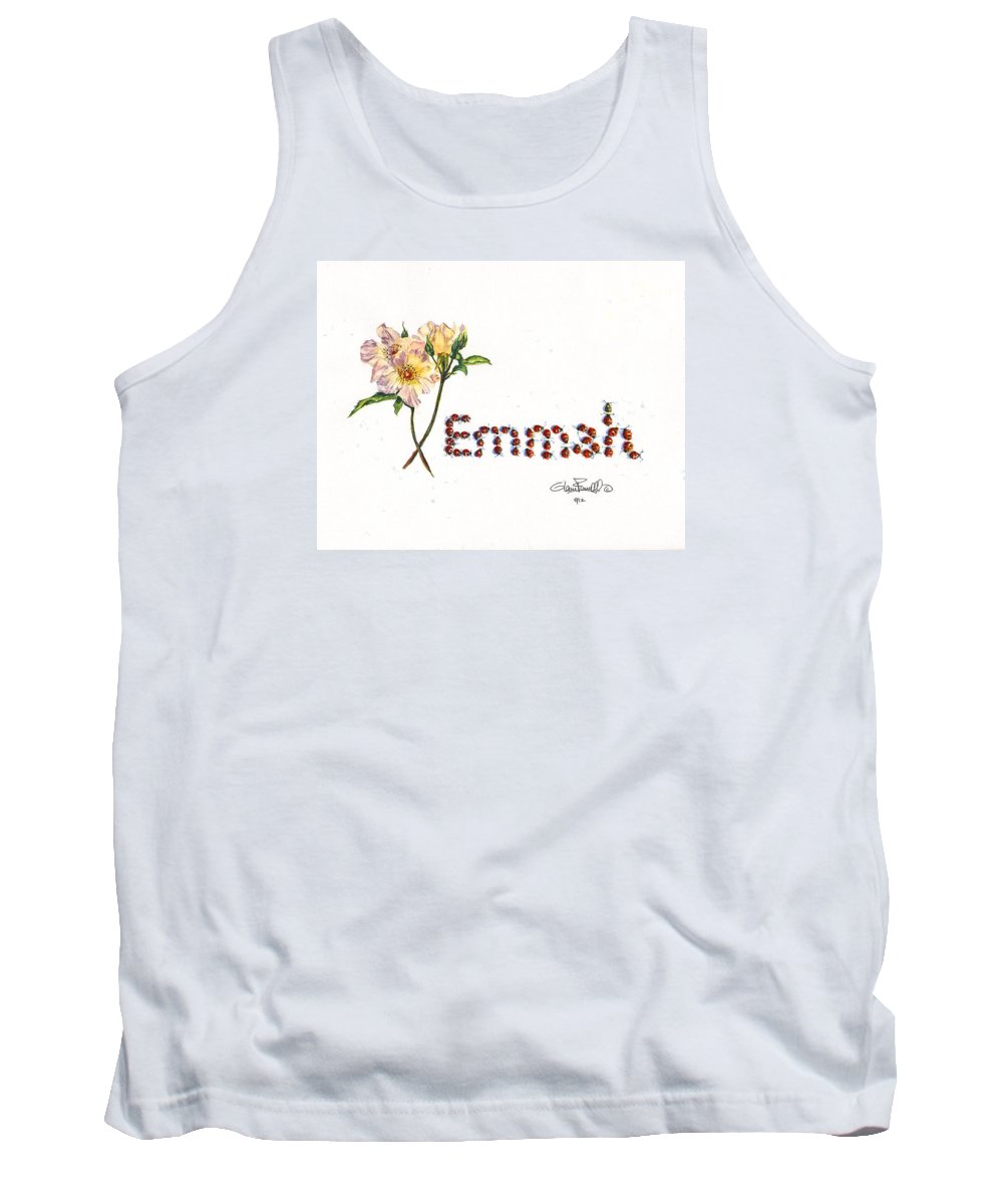 Emmah Tank Top featuring the painting Emmah In Ladybugs by Glenn Farrell