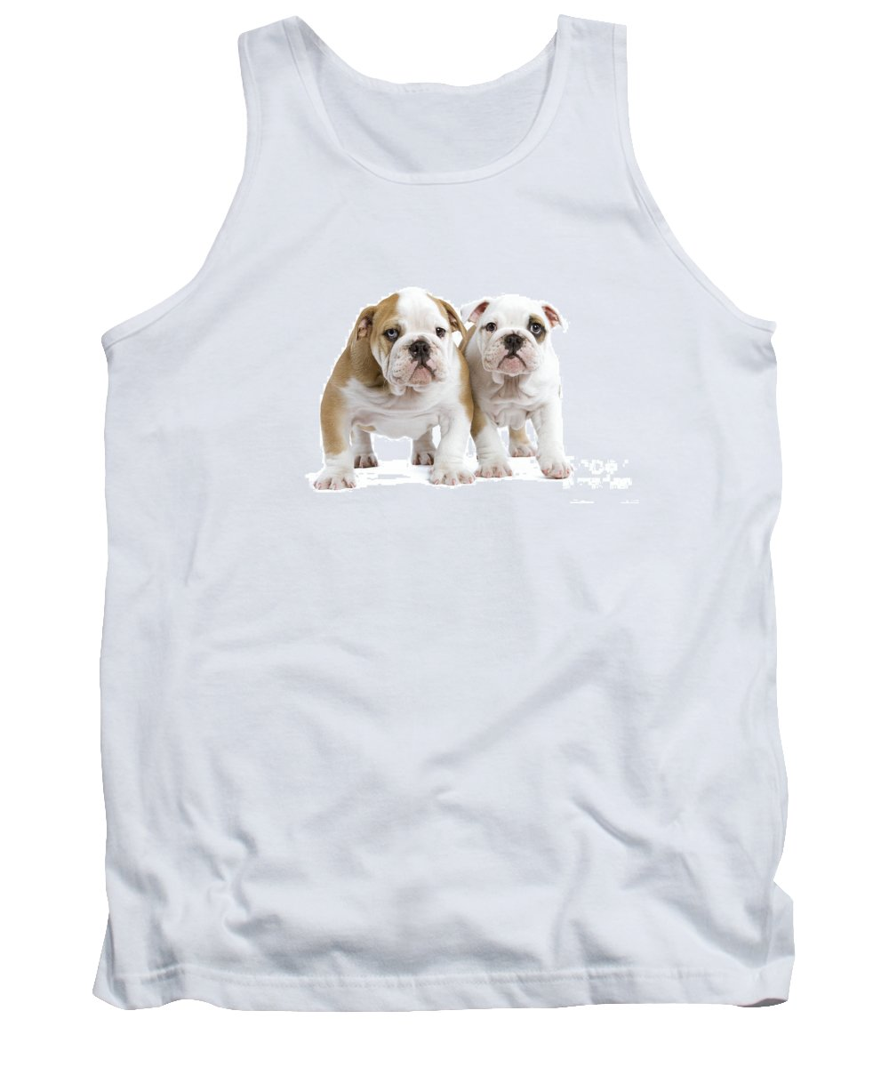 English Bulldog Tank Top featuring the photograph English Bulldog Puppies by Jean-Michel Labat