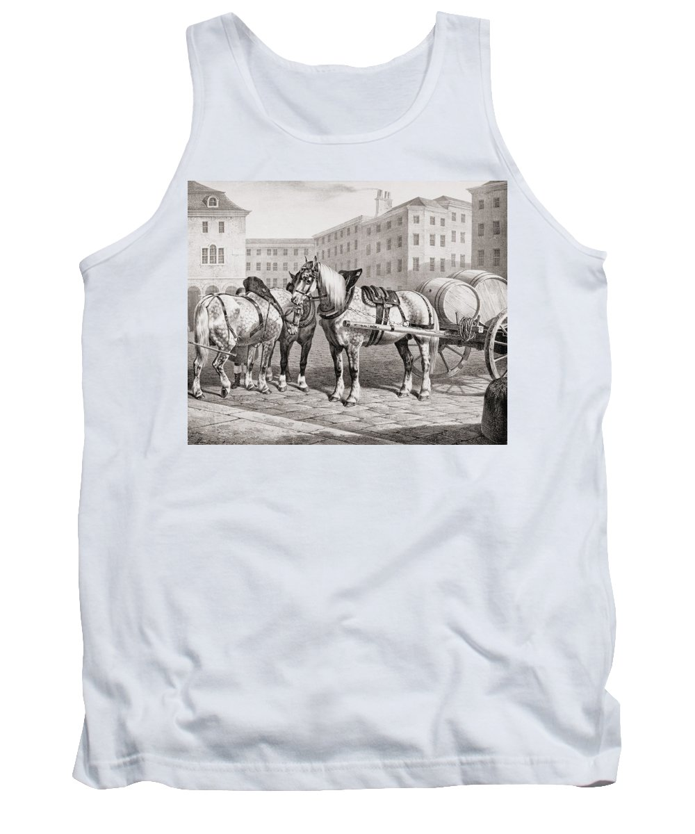 English Tank Top featuring the drawing English Farm Horses, 1823 by French School