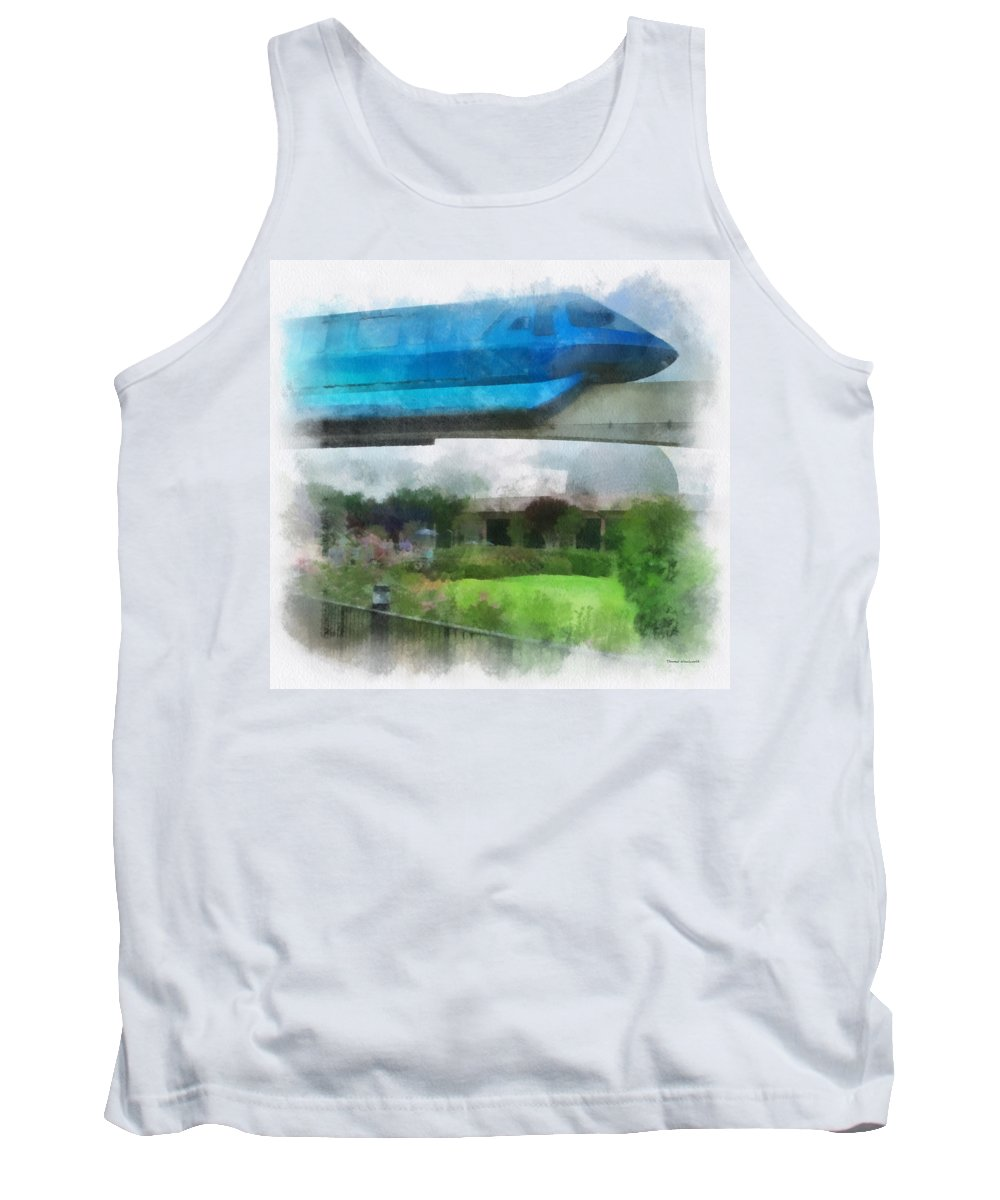 Magic Kingdom Tank Top featuring the photograph Epcot Globe And Blue Monorail Walt Disney World Photo Art 01 by Thomas Woolworth