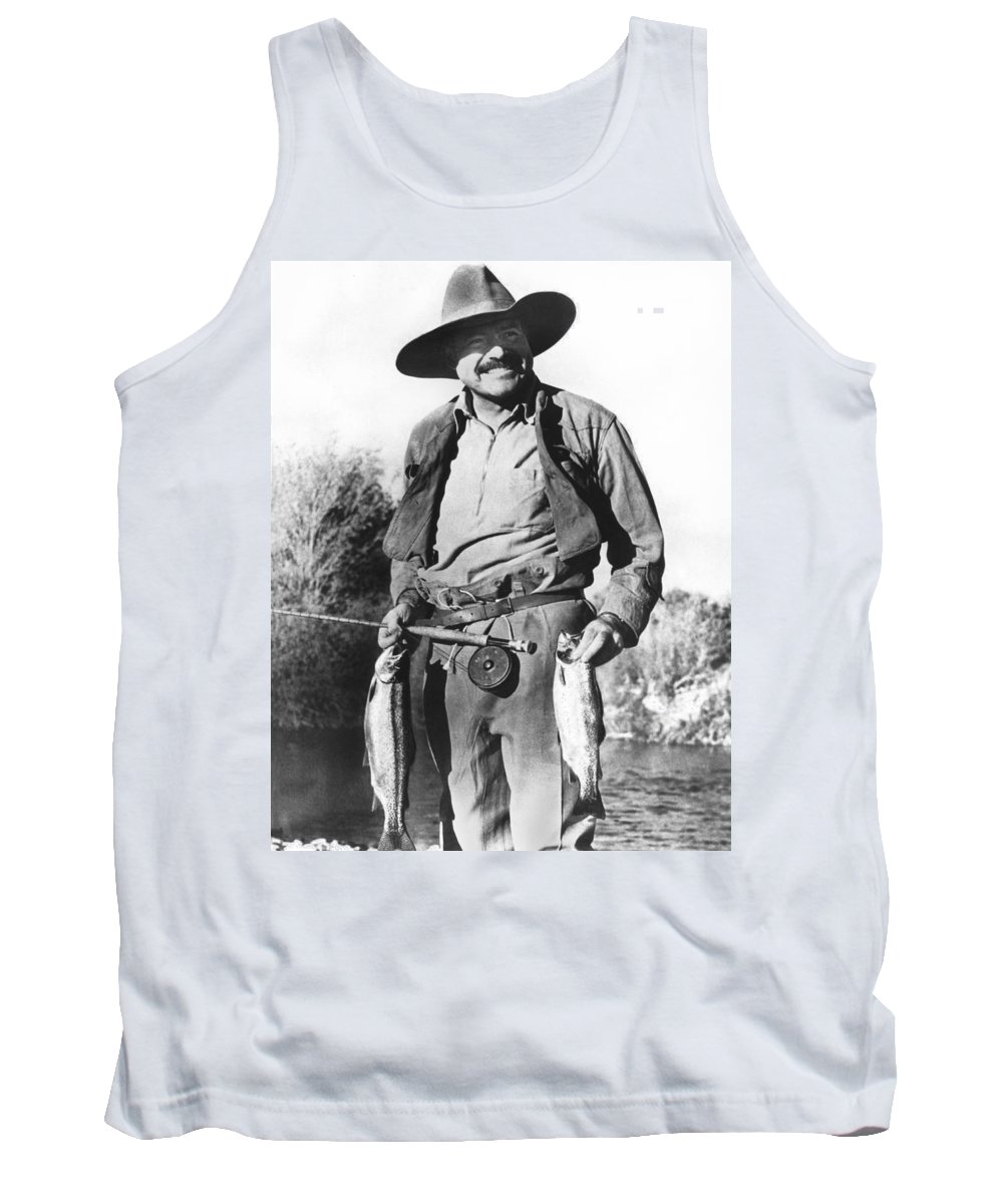 1035-553 Tank Top featuring the photograph Ernest Hemingway Fishing by Underwood Archives