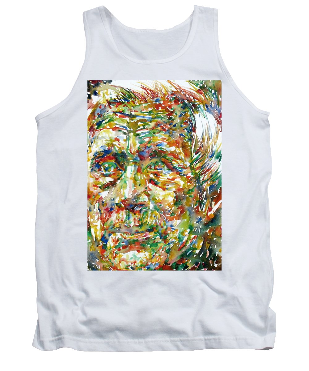 Ernst Tank Top featuring the painting Ernst Junger Watercolor Portrait by Fabrizio Cassetta