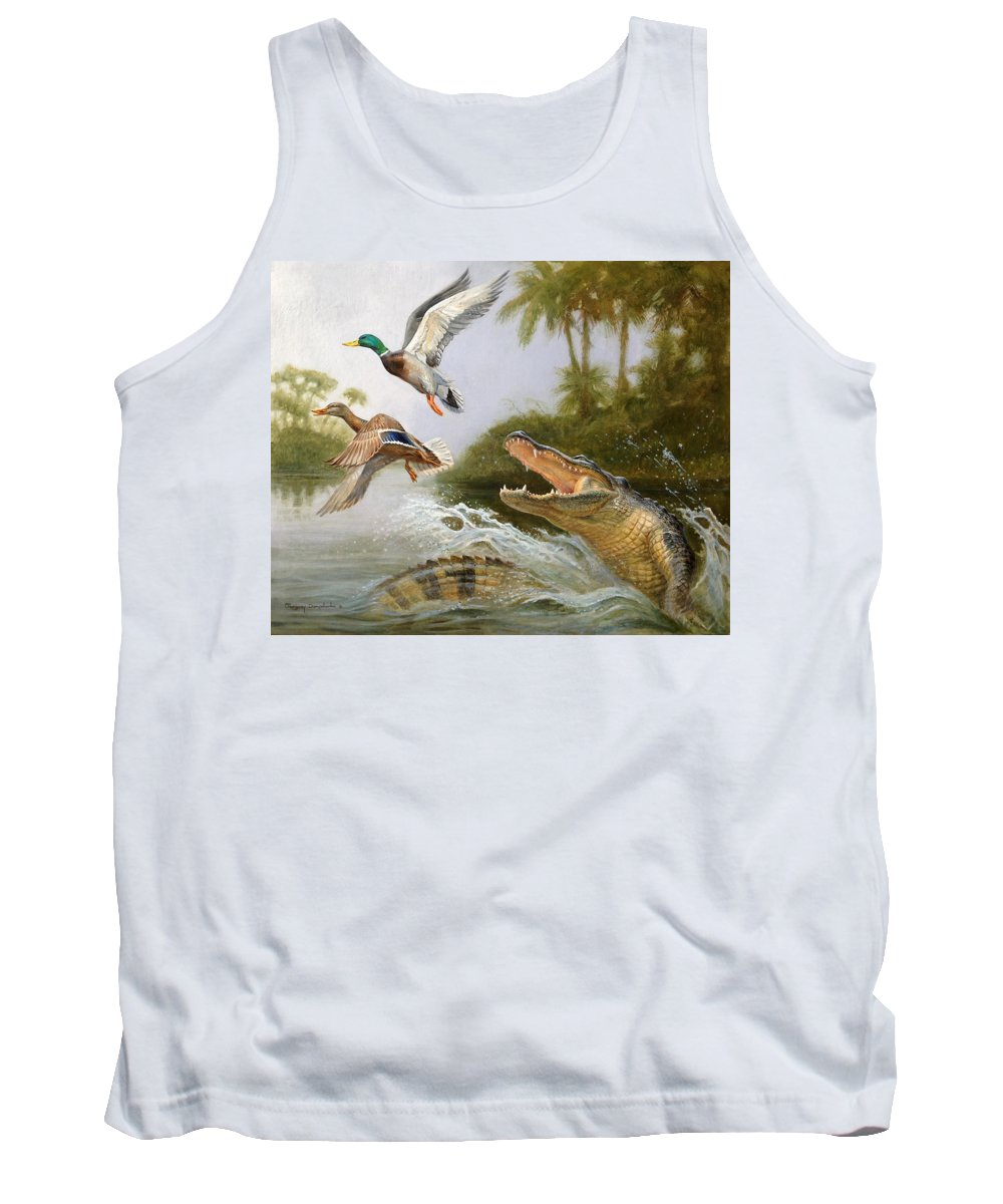 Duck Alligator Hunting Nature Water Tank Top featuring the painting Escape by Gregory Doroshenko