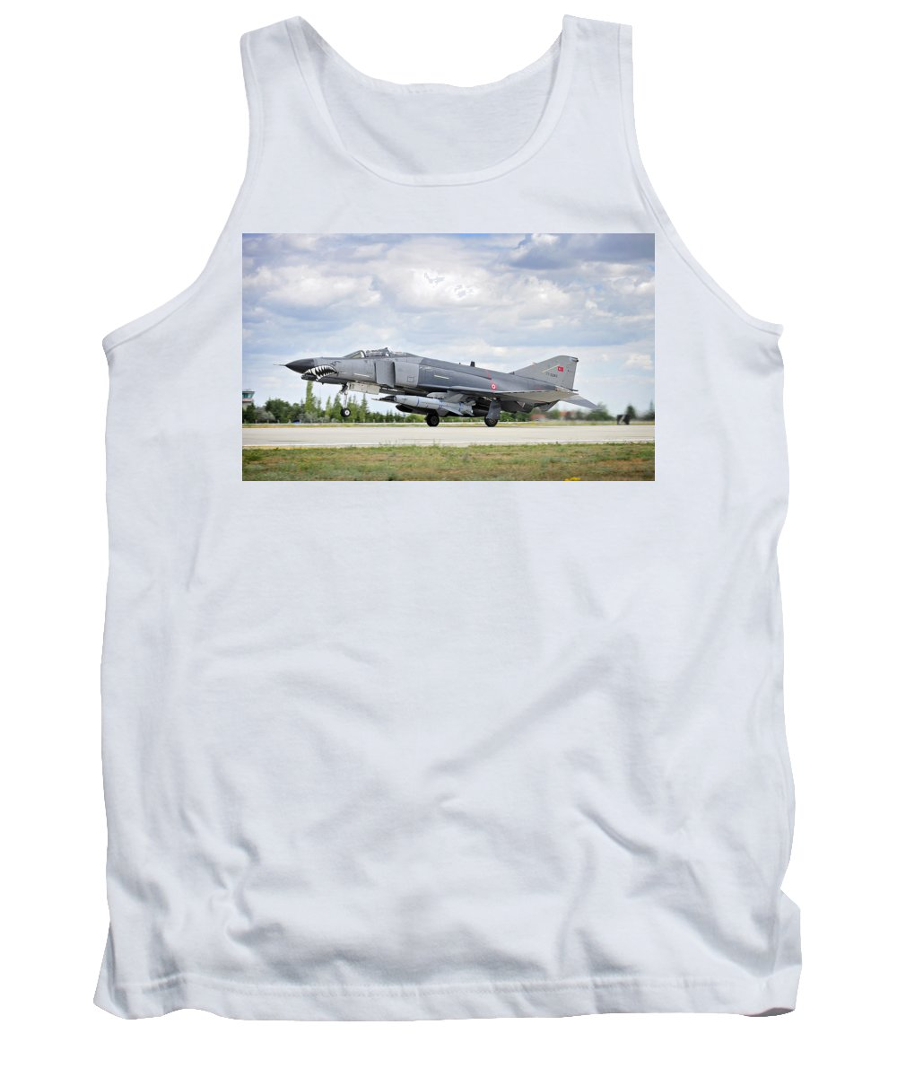 Phantom Tank Top featuring the photograph F4e Phantom II Aircraft by Paul Fearn