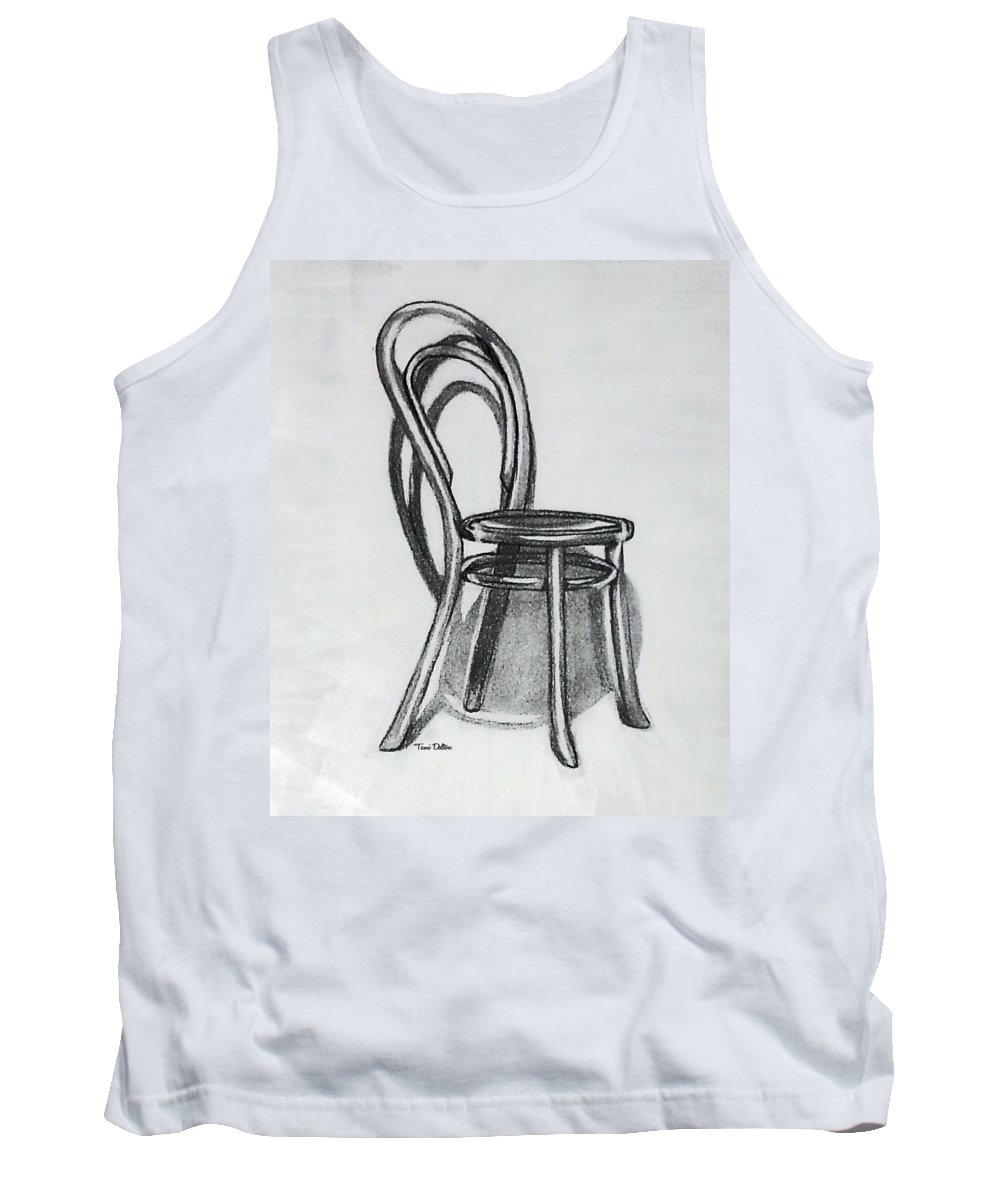 Fanback Tank Top featuring the drawing Fanback Parlor Chair by Tami Dalton