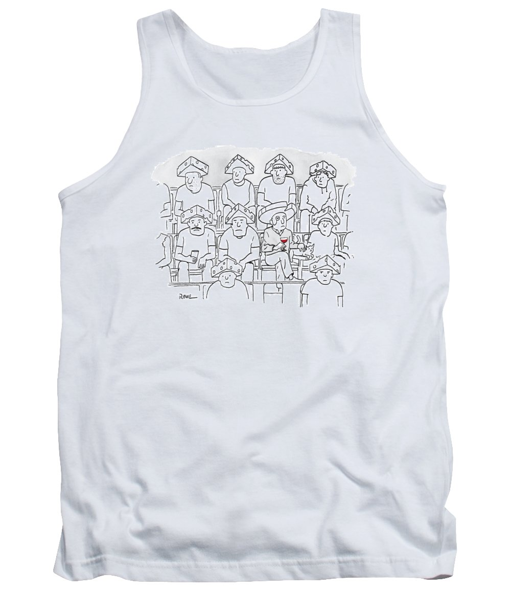 Captionless Tank Top featuring the drawing Fans At A Football Game Sit In The Stands Wearing by Julian Rowe