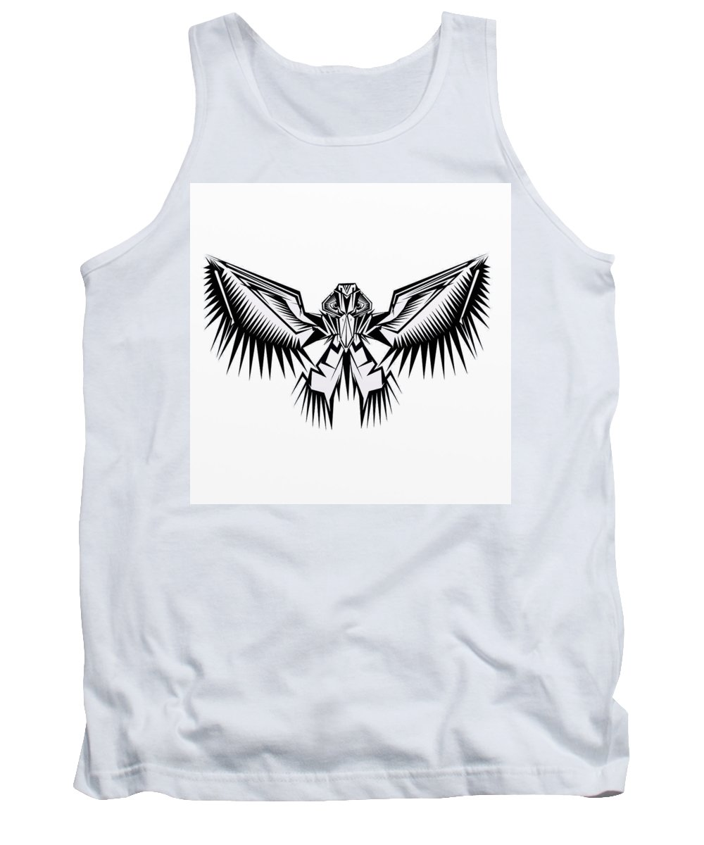 Bold Black And White Fantasy Abstract Bird Tank Top featuring the digital art Fantasy Bird by David Michael Schmidt