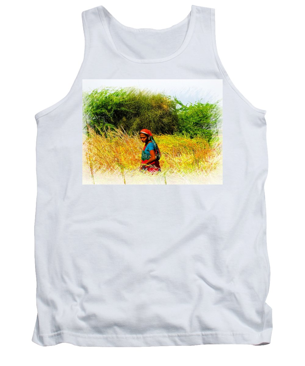Harvest Tank Top featuring the photograph Farmers Fields Harvest India Rajasthan 2a by Sue Jacobi