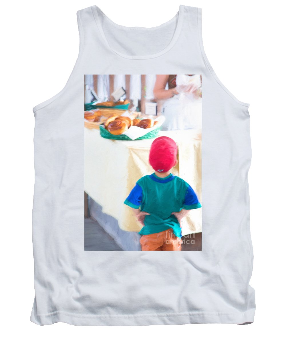 Michele Tank Top featuring the digital art Farmers Market Negotiation by Michele Steffey
