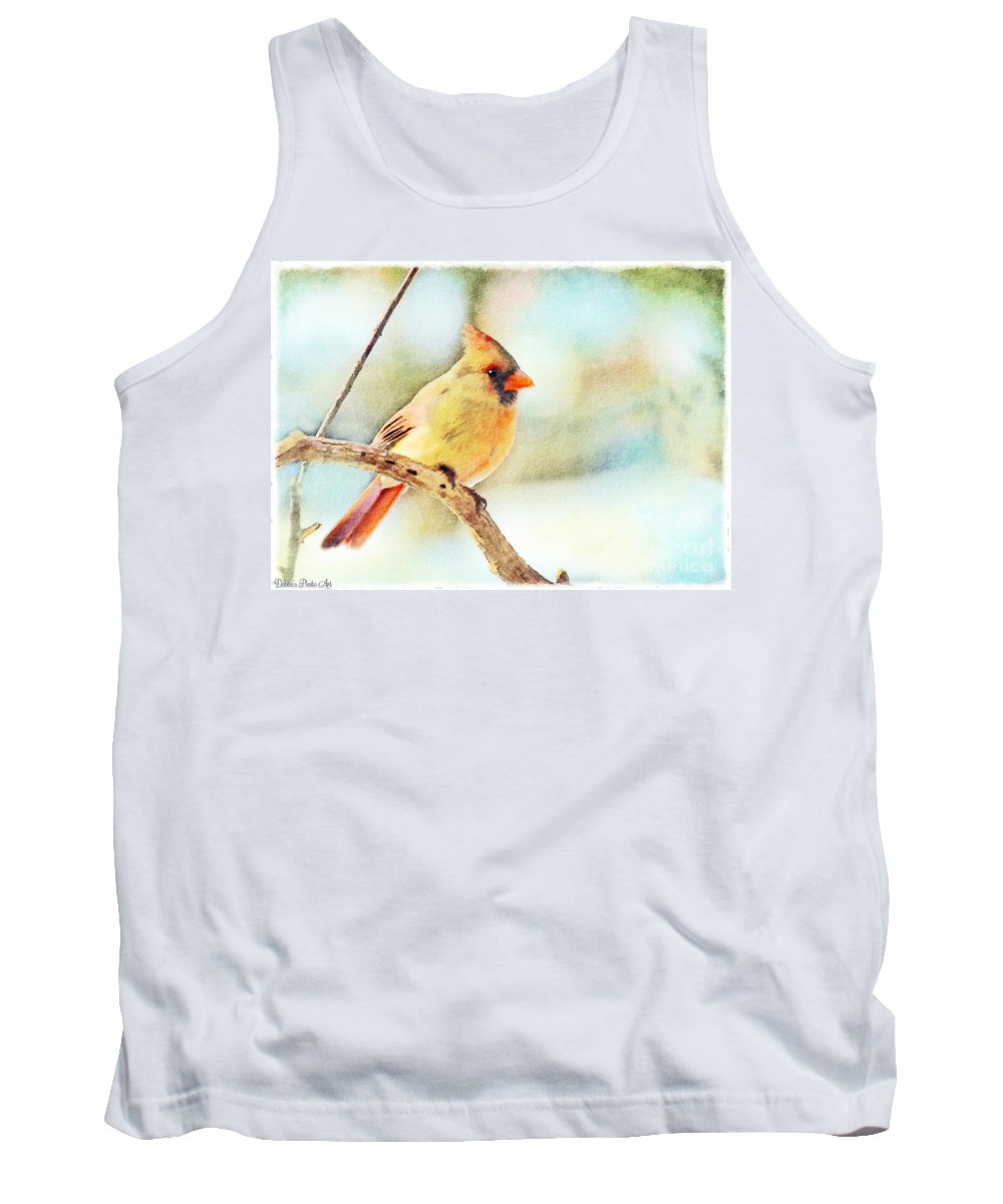 Cardinal Tank Top featuring the photograph Female Northern Cardinal - Digital Paint I by Debbie Portwood