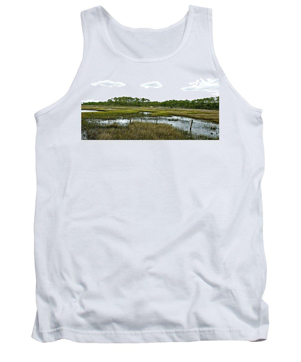 Salt Marsh Tank Top featuring the photograph Fence Thru The Marsh by Norman Johnson