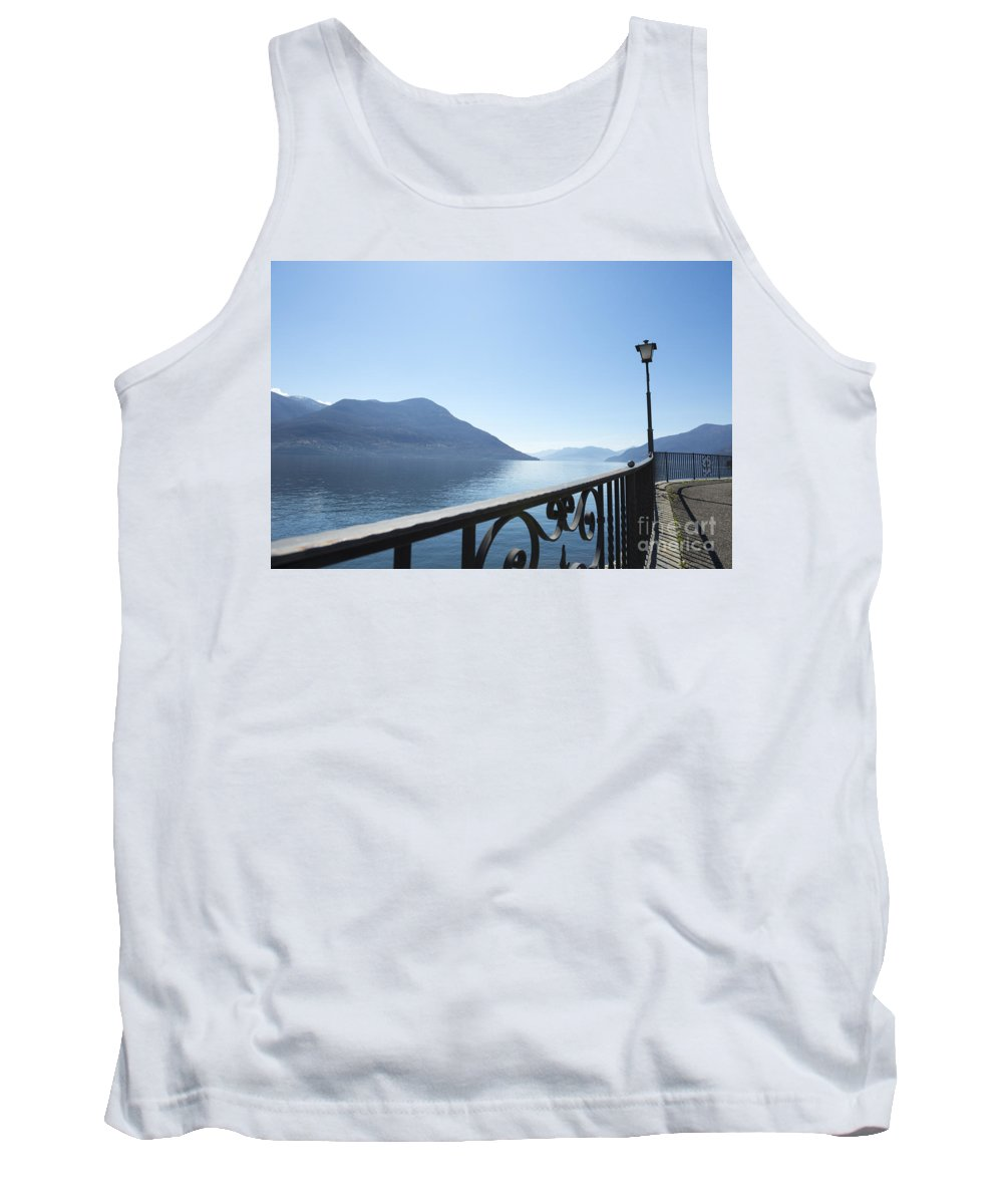 Fence Tank Top featuring the photograph Fence With Street Lamp by Mats Silvan