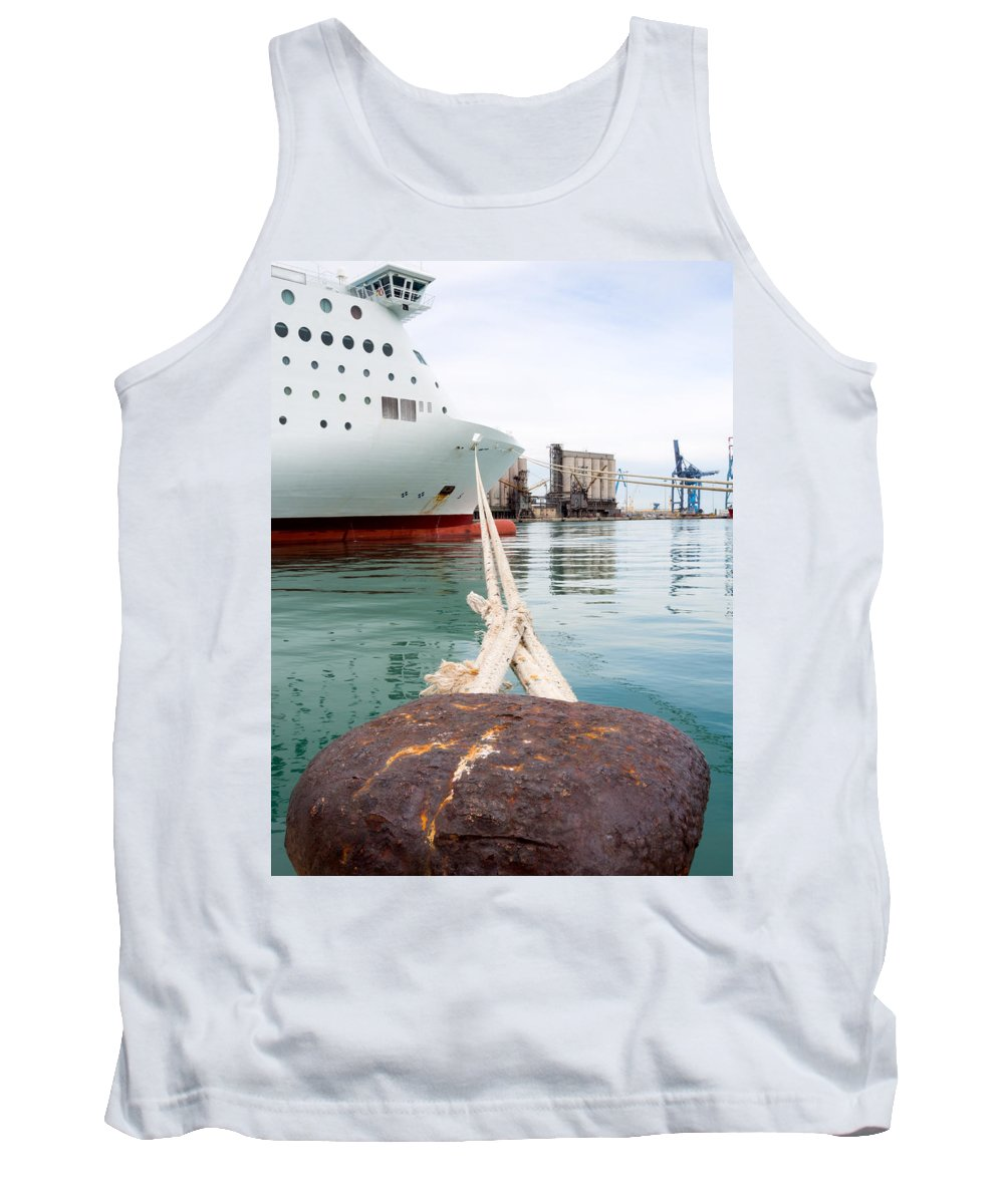 Blue Tank Top featuring the photograph Ferry Mooring by Roy Pedersen