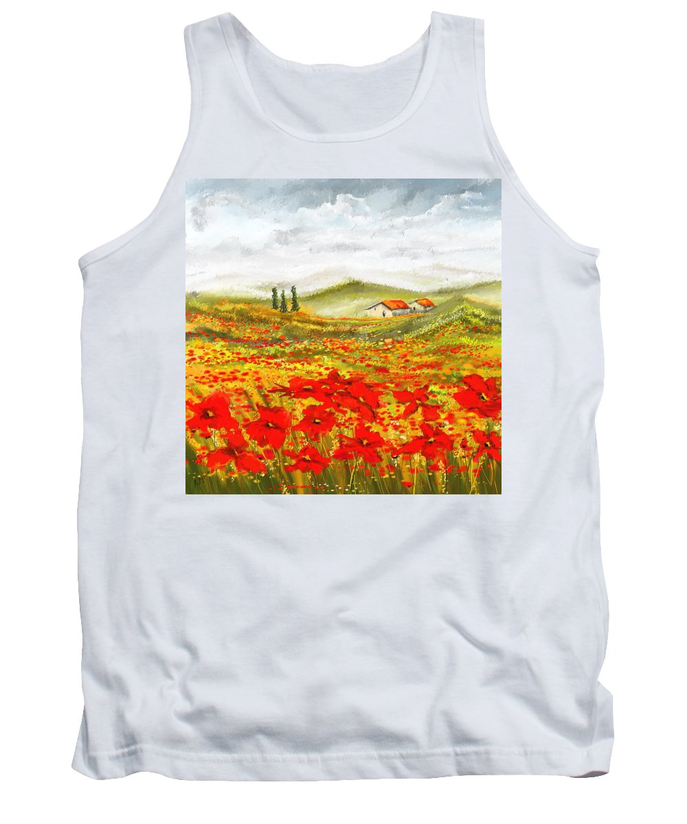 Poppies Tank Top featuring the painting Field Of Dreams - Poppy Field Paintings by Lourry Legarde
