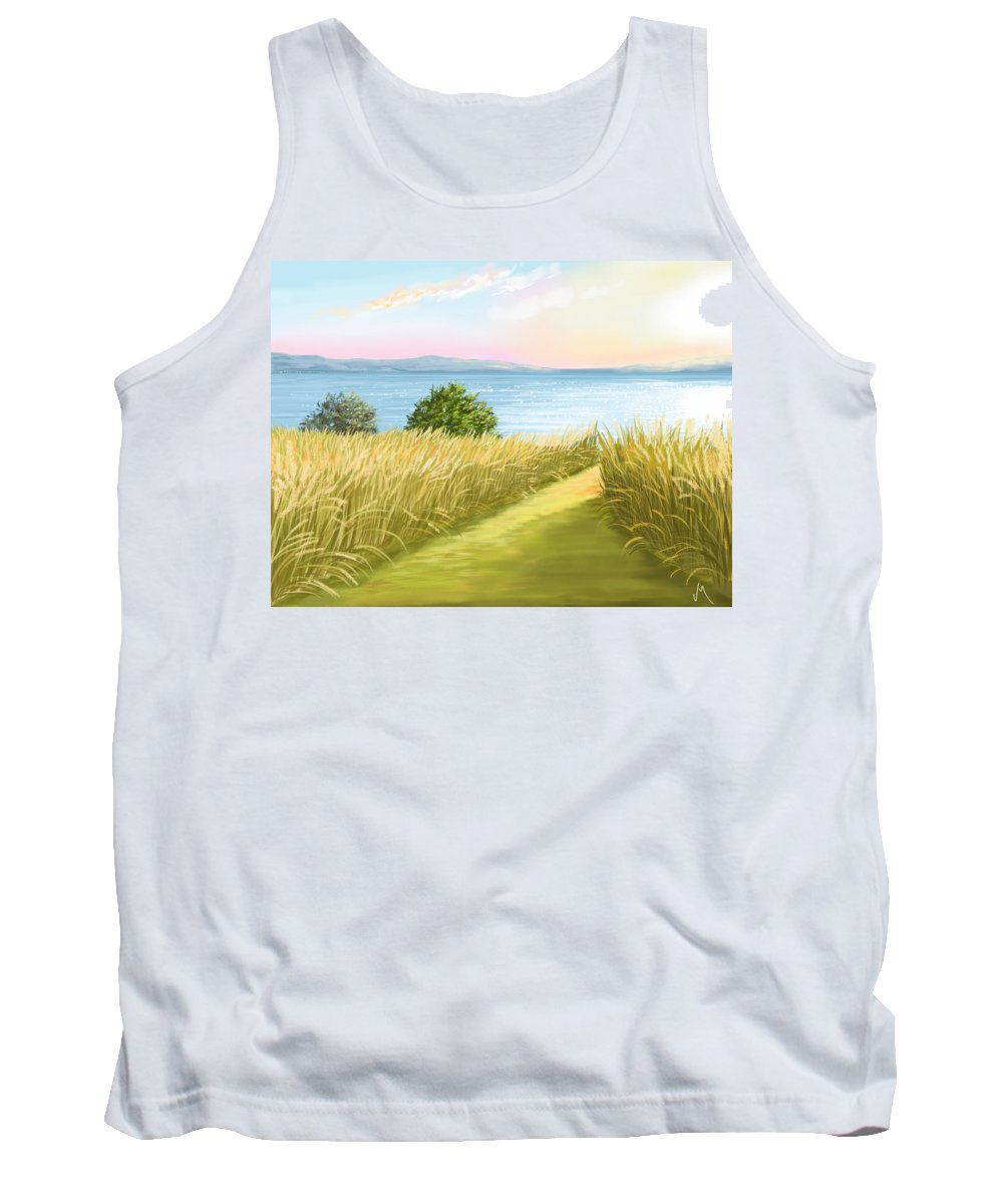 Sunset Tank Top featuring the painting Field by Veronica Minozzi