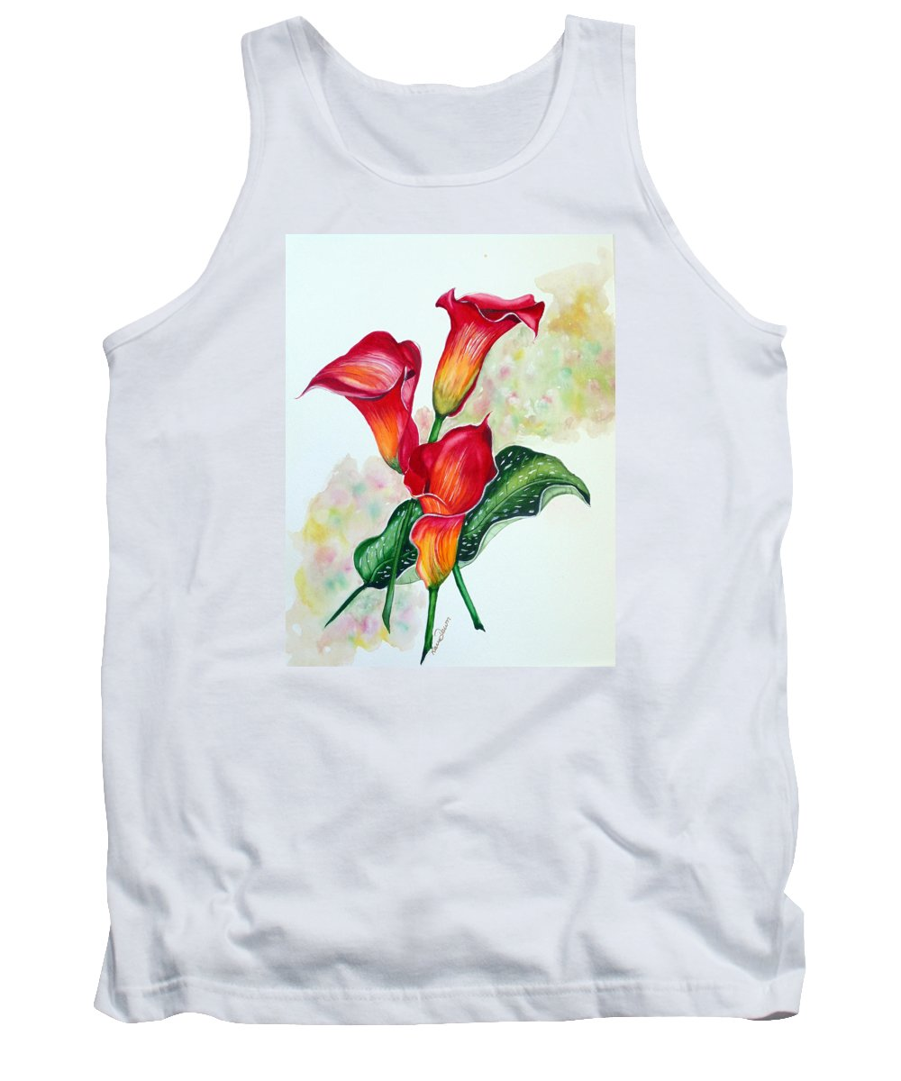Floral Lily Paintings Flower Paintings Red Paintings Orange Paintings Calla Lily Paintings Tropical Paintings Caribbean Paintings  Greeting Card Paintings Canvas Paintings Poster Paintings Tank Top featuring the painting Fiery Callas by Karin Dawn Kelshall- Best