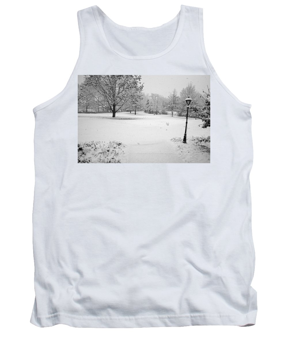 Snowcold Tank Top featuring the photograph First Snow by Jean Macaluso