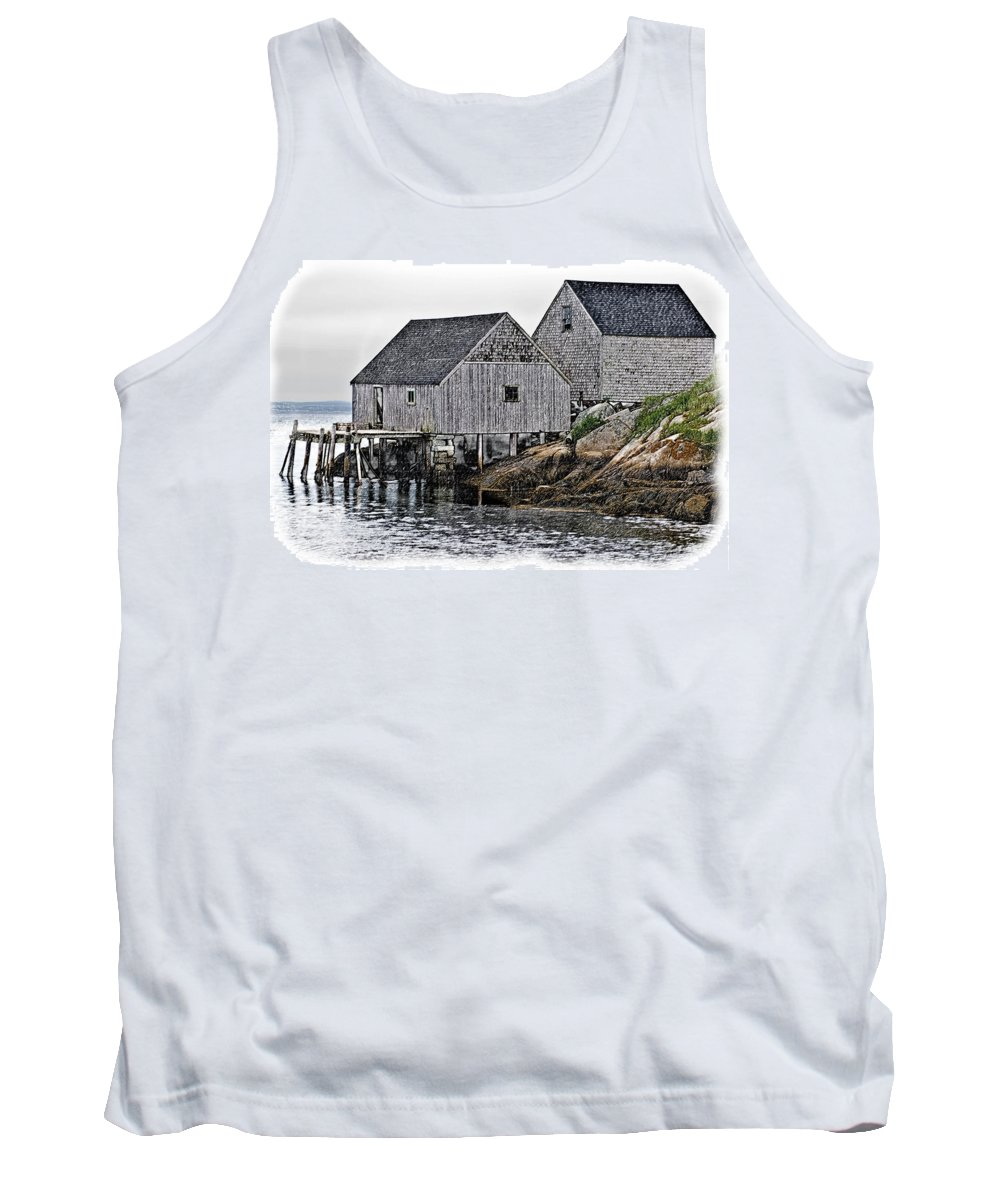 Canada Tank Top featuring the photograph Fishing Sheds At Peggy's Cove by Gene Norris